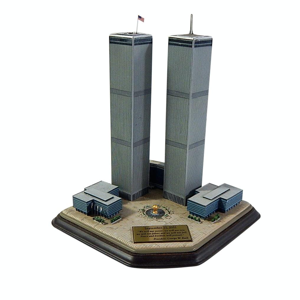 """Danbury Mint """"Twin Towers Commemorative"""" Sculpture with President GW Bush Plaque"""