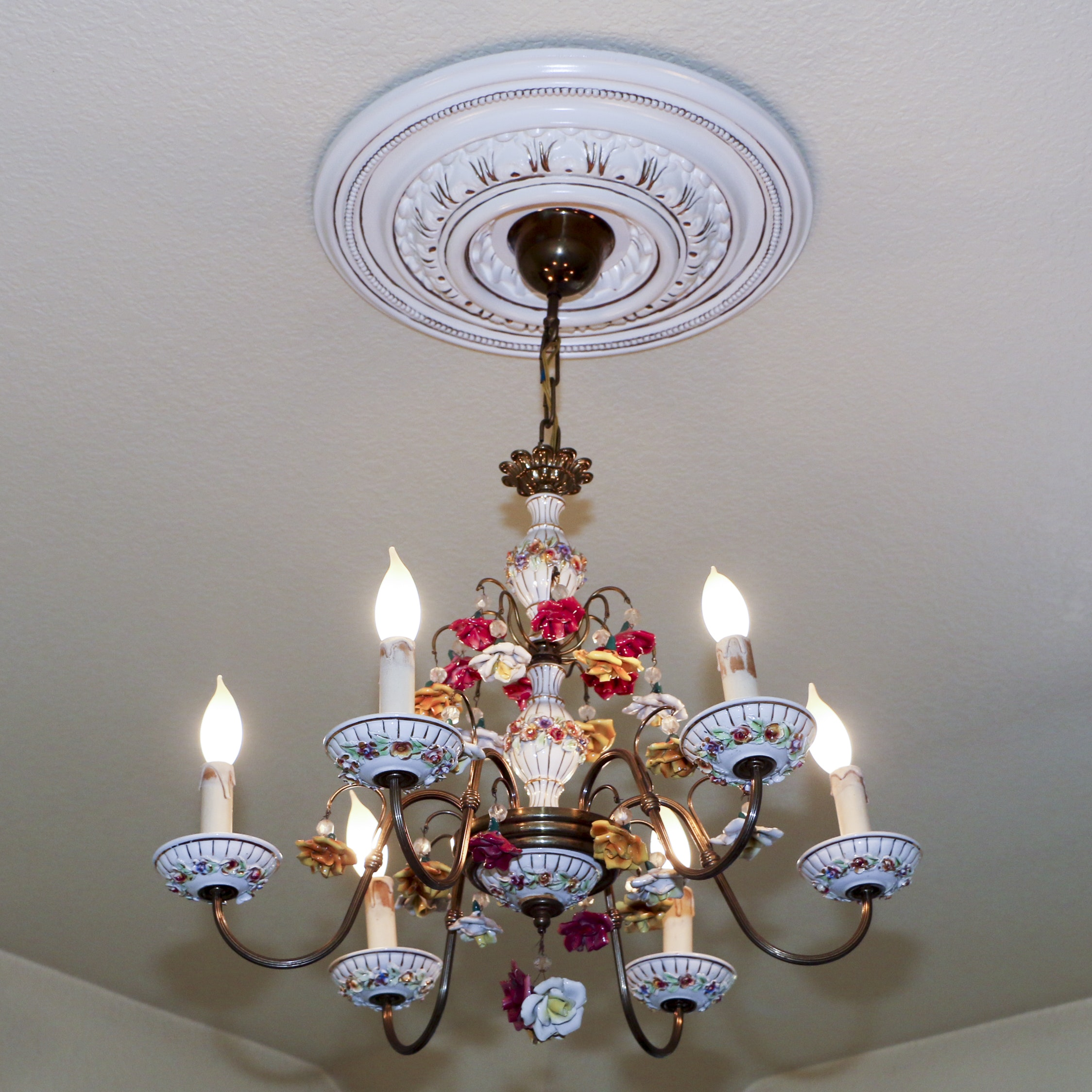 Hand-Painted Capodimonte Style Porcelain and Metal Chandelier