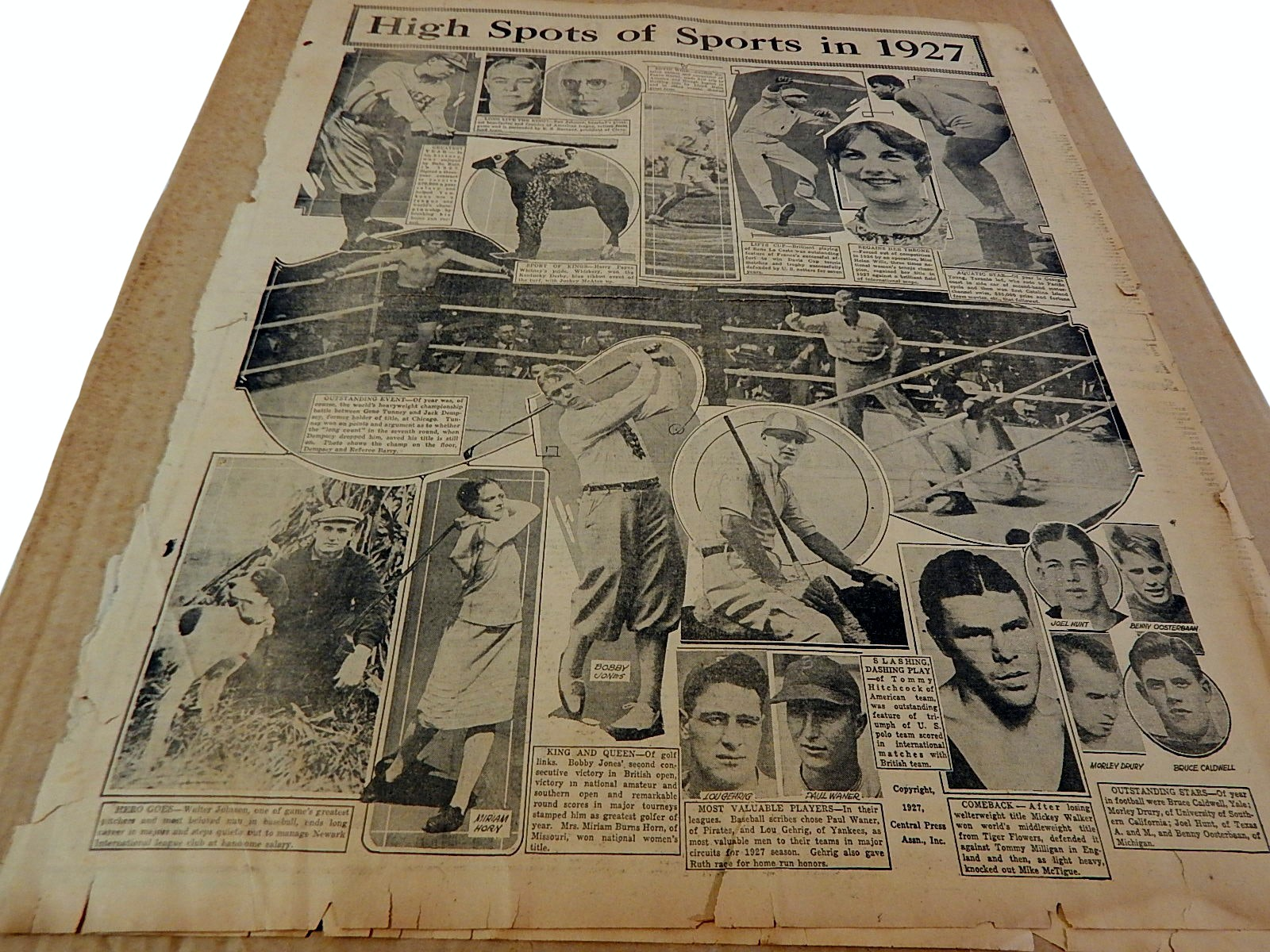 """1927 """"High Spots of Sports"""" Newspaper Article with B. Ruth, Dempsy, Gehrig"""
