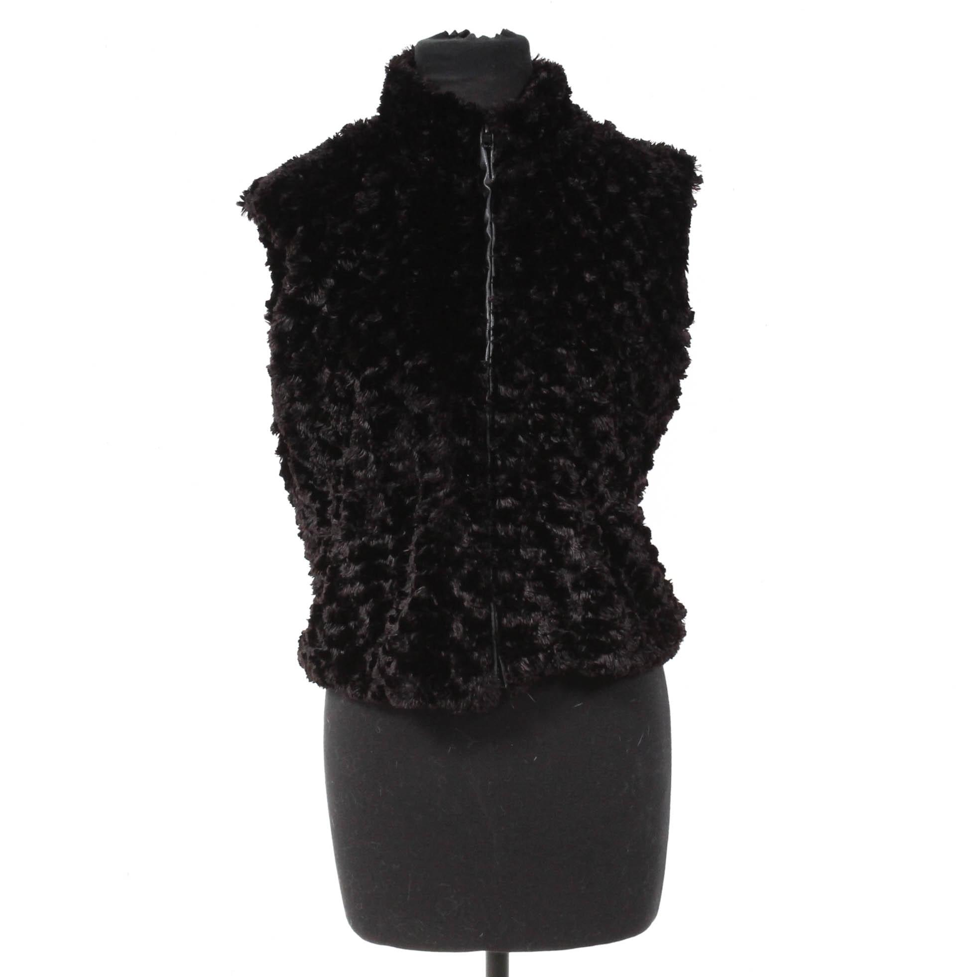 Cejon Accessories Inc. Black Faux Fur Zip-Up Vest