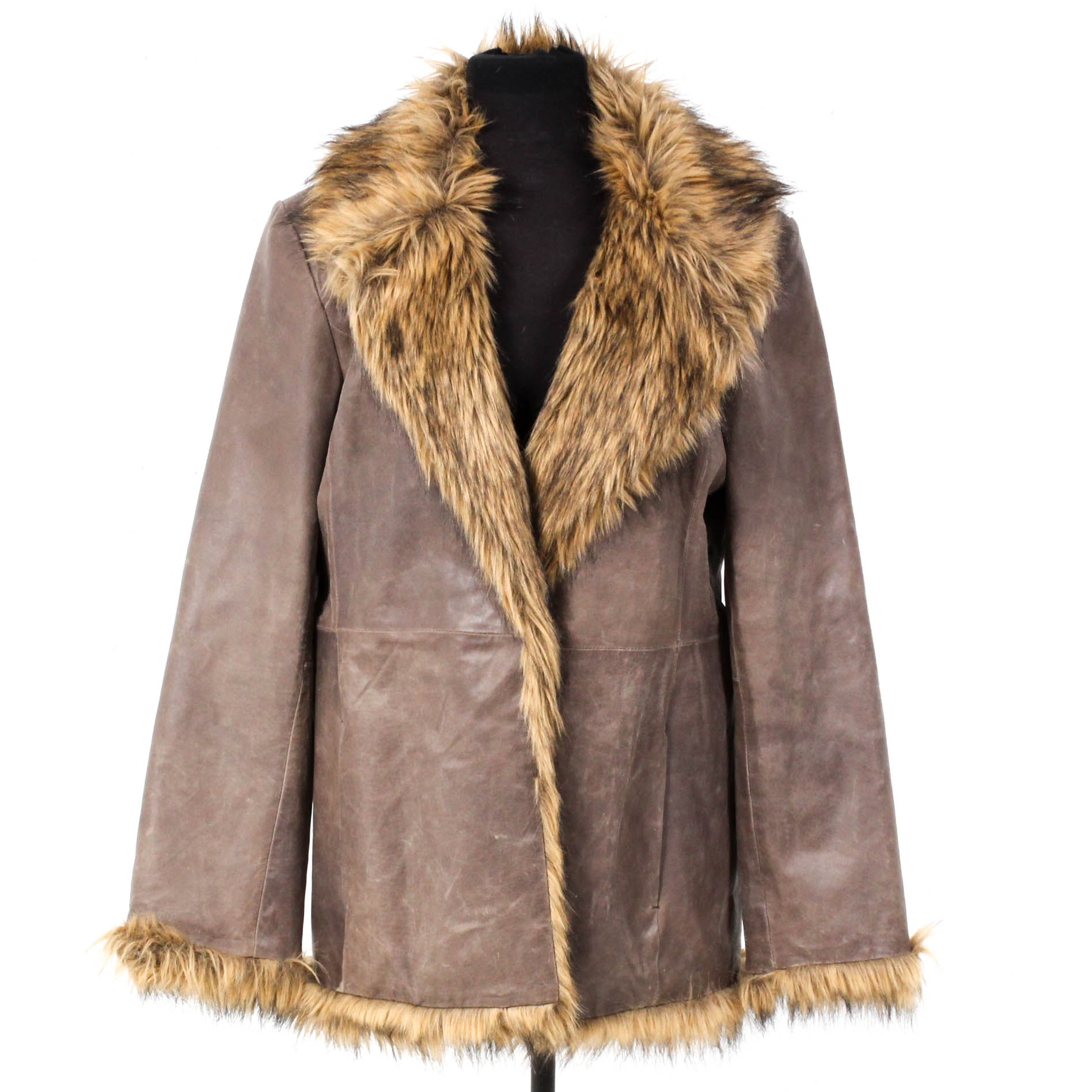 Newport News Easy Style Faux Fur Trimmed Leather Coat