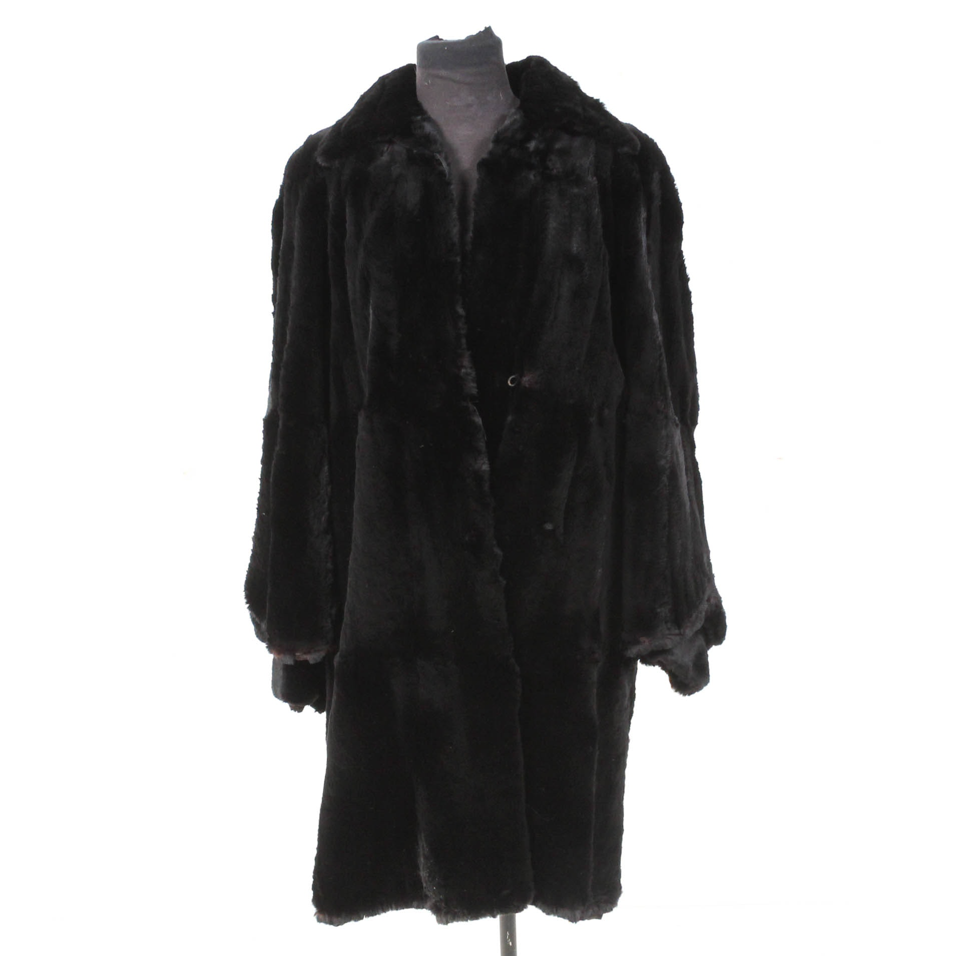 Marilyn Furs Black Rabbit Fur Coat with Flared Sleeves