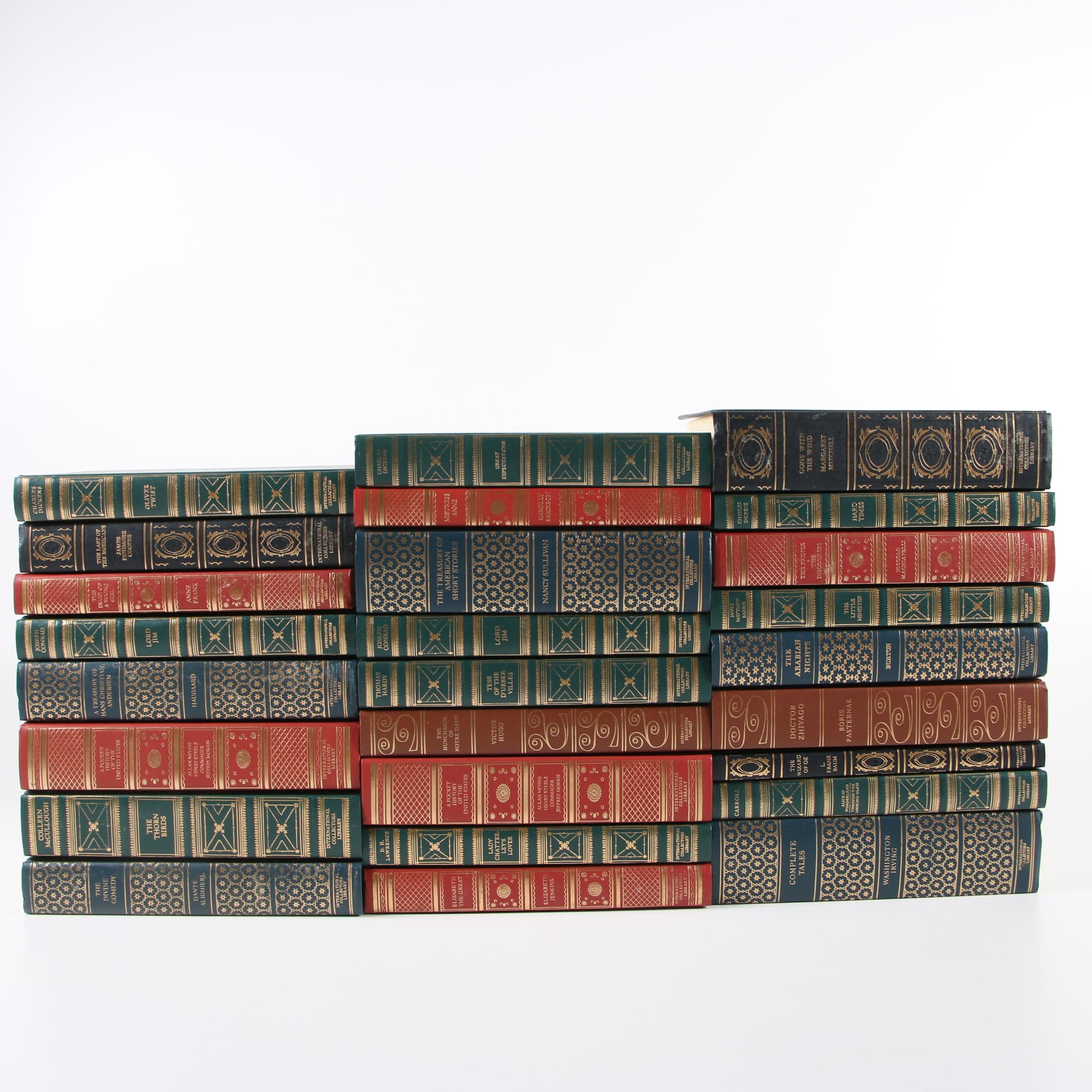 International Collectors Library Books including Dante, Dickens, Hugo, and Hardy