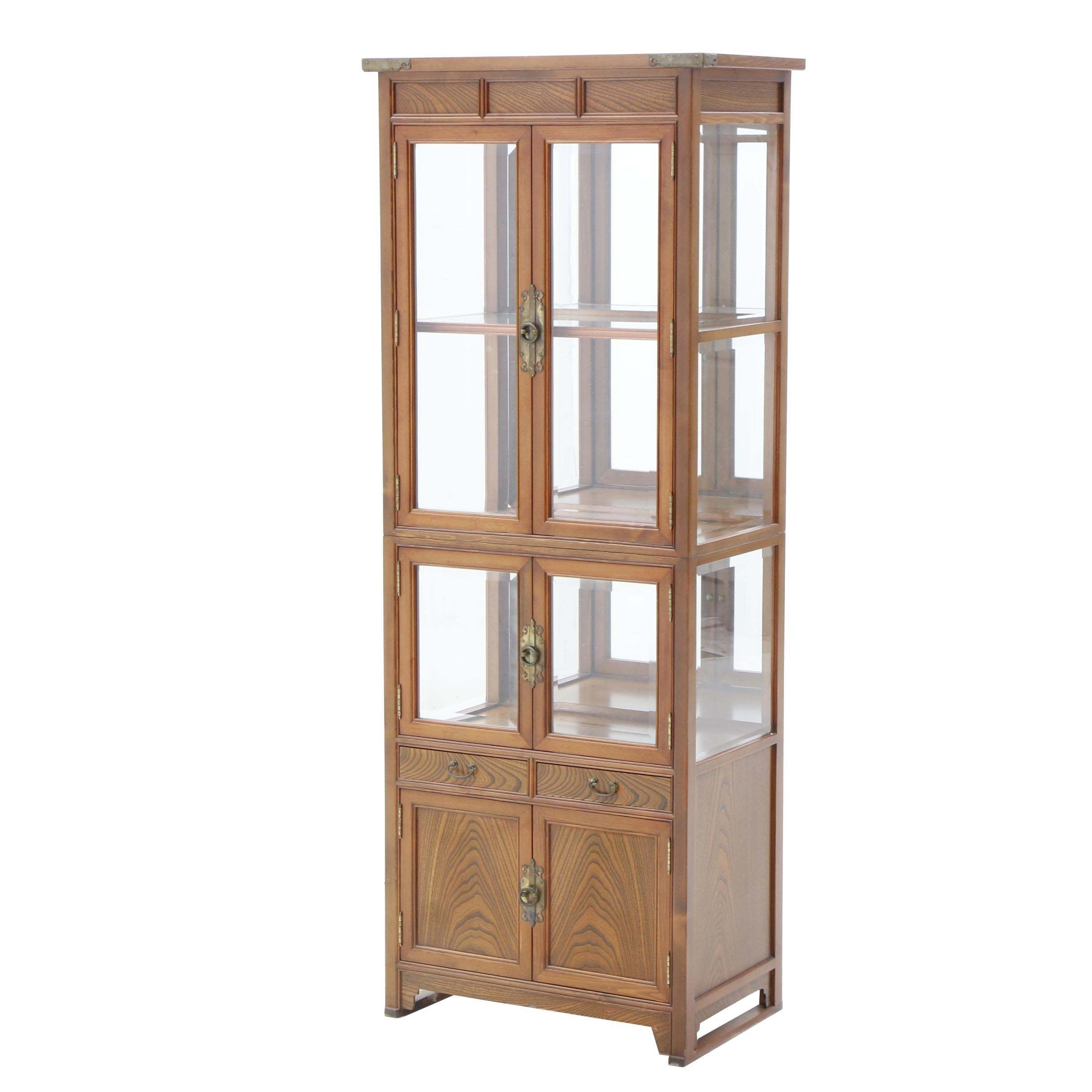 Asian Inspired Oak Display Cabinet