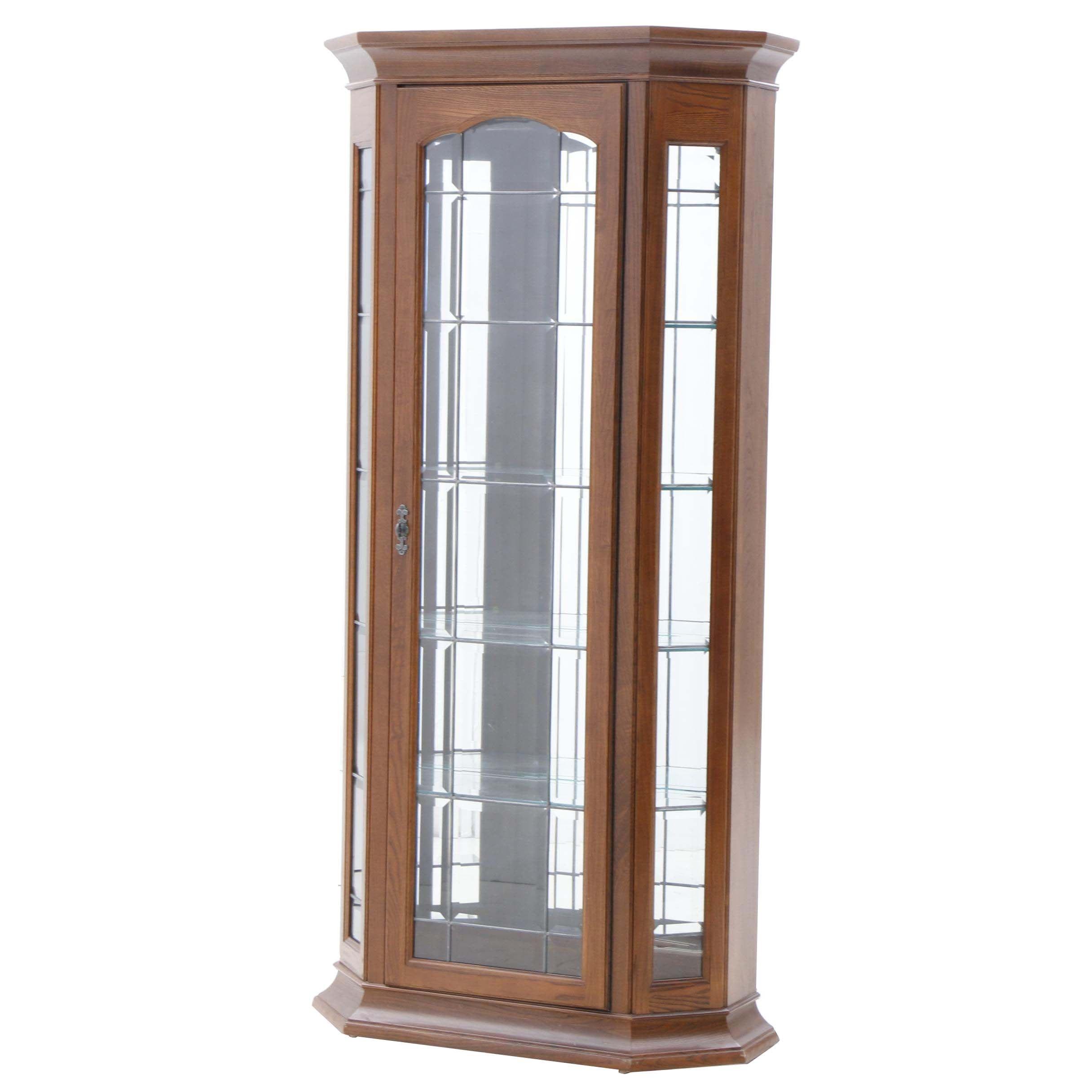 Contemporary Oak Illuminated Display Cabinet by Jasper