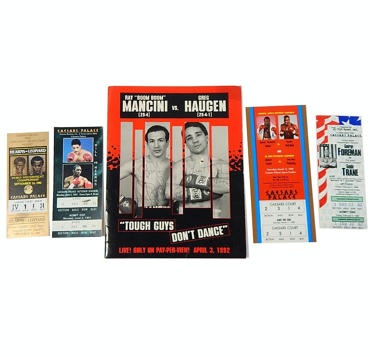 "Boxing Fight Tickets and Signed Ray ""Boom Boom"" Mancini Fight Folder"