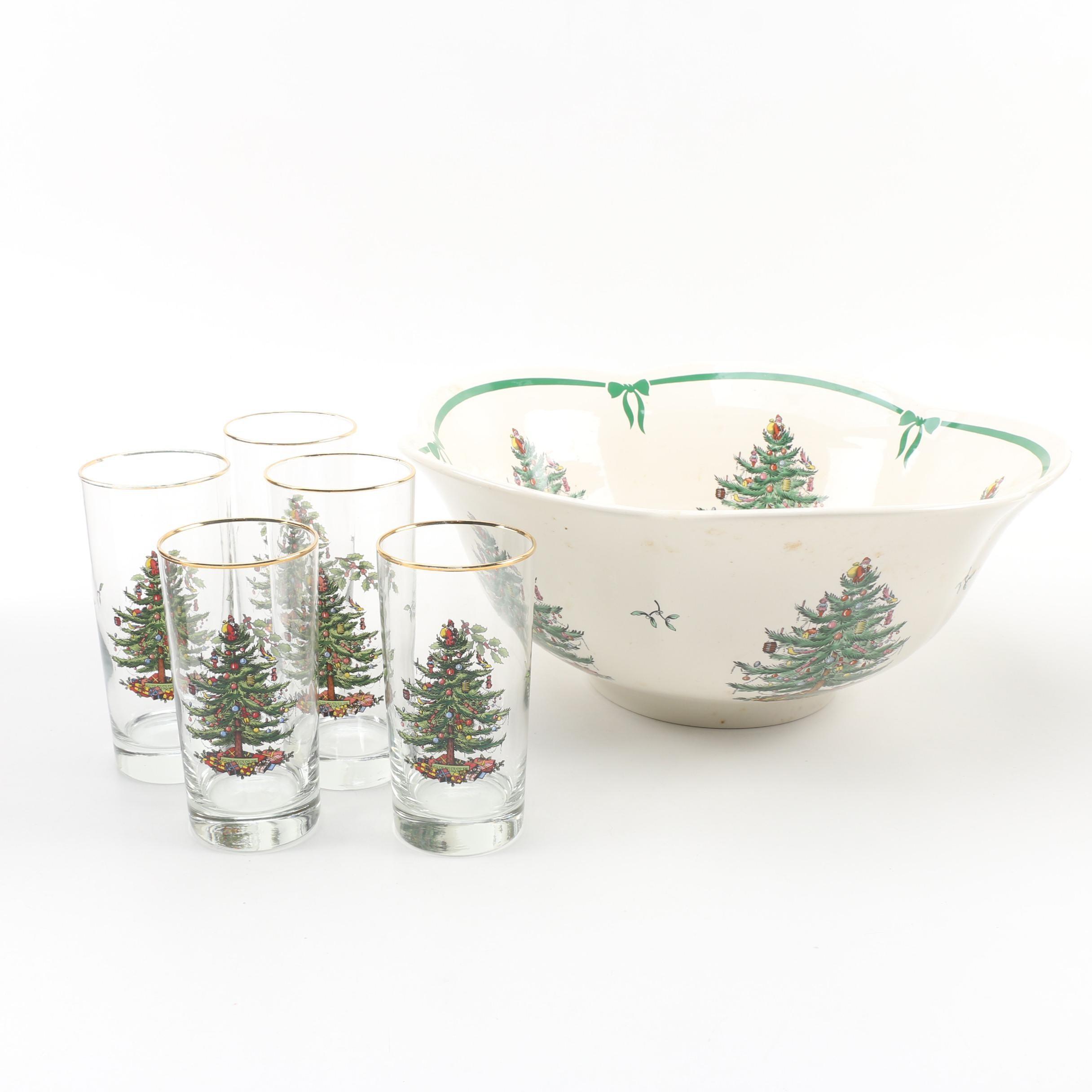 "Spode ""Christmas Tree"" Punch Bowl and Highball Glasses"