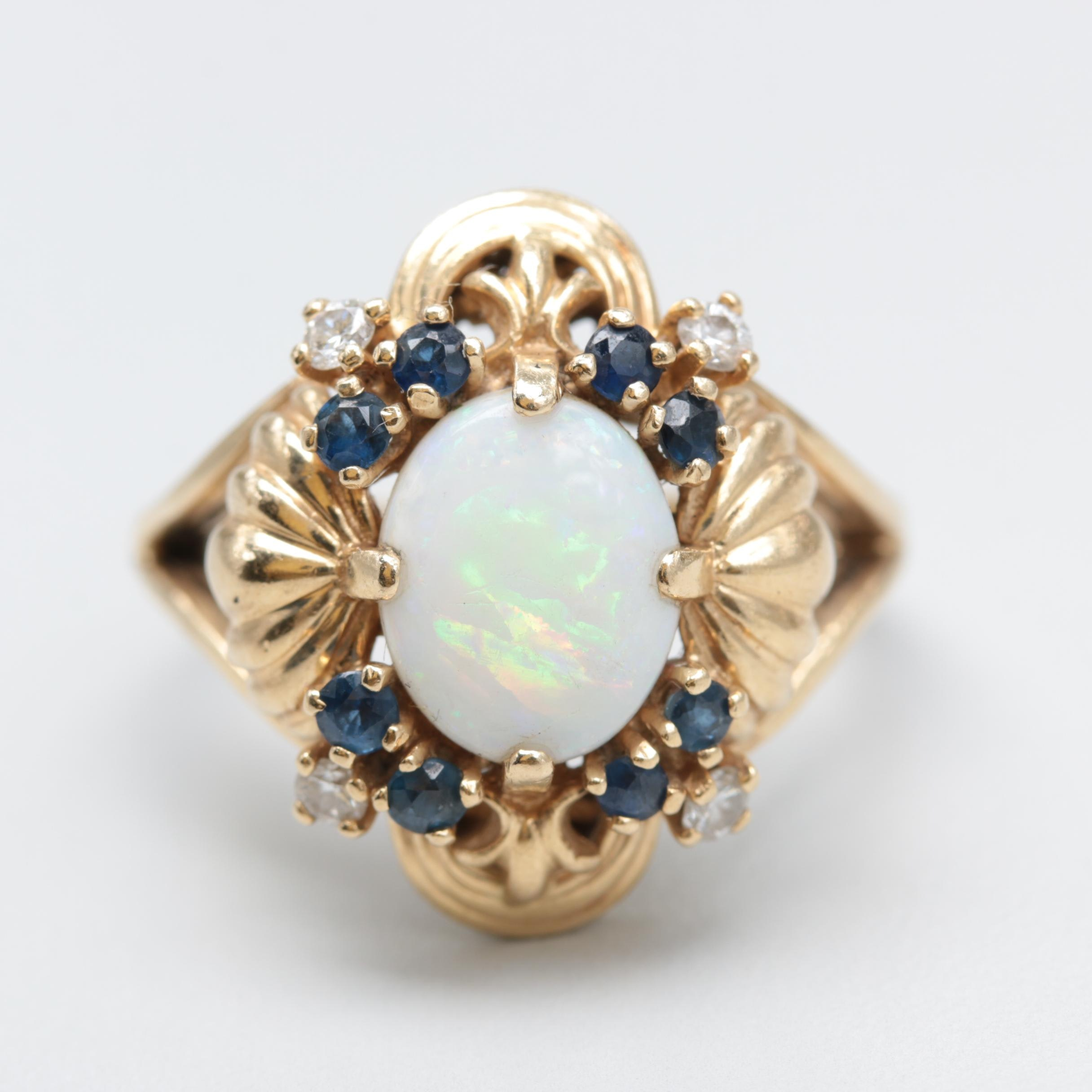 Franklin Mint 14K Yellow Gold Opal, Blue Sapphire and Diamond Ring