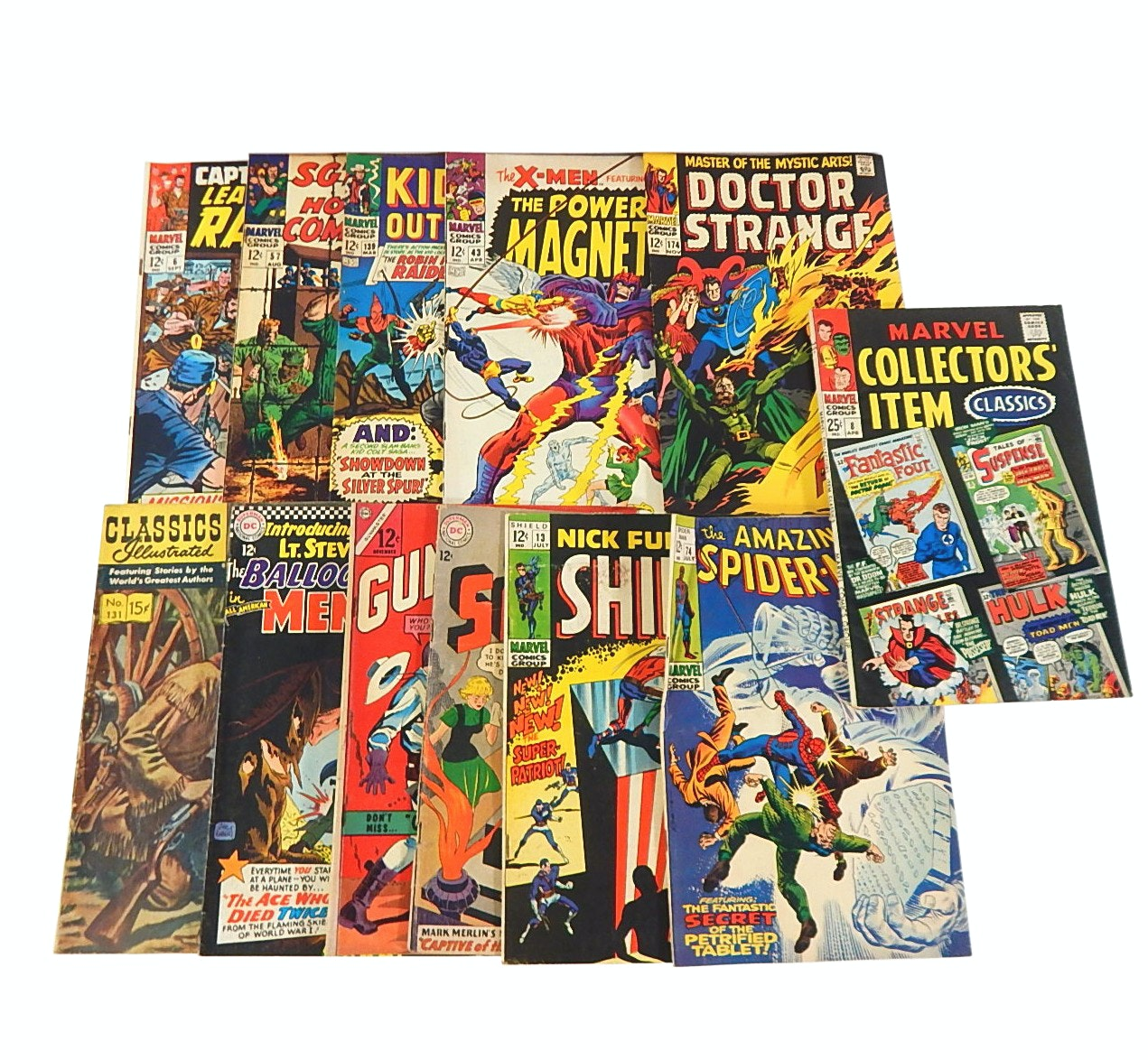 Silver Age Marvel, DC Comics 12 Cent Comic Books with Spider-Man, Dr. Strange