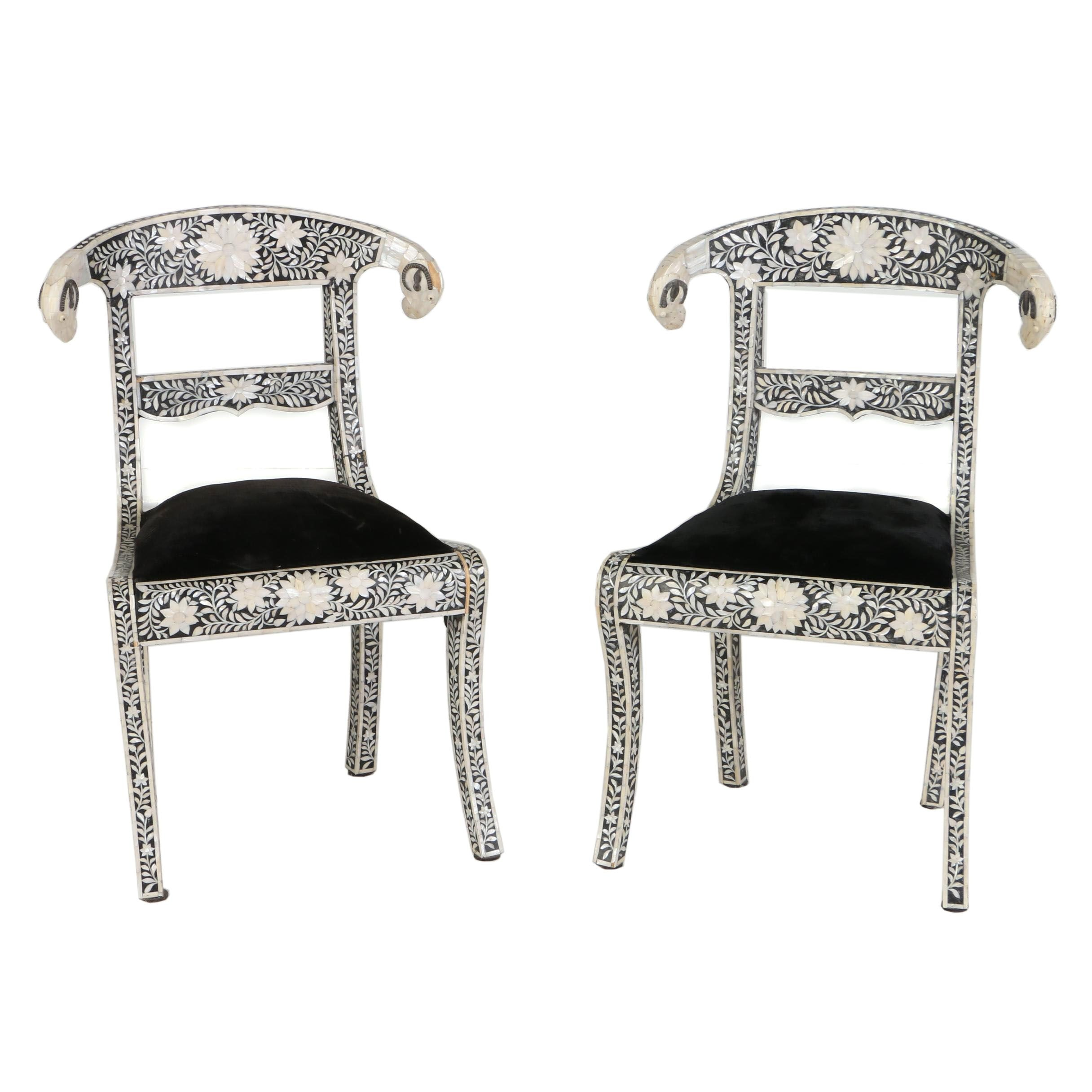 Pair of Indian Mother-of-Pearl Inlaid and Ebonized Side Chairs, 20th Century