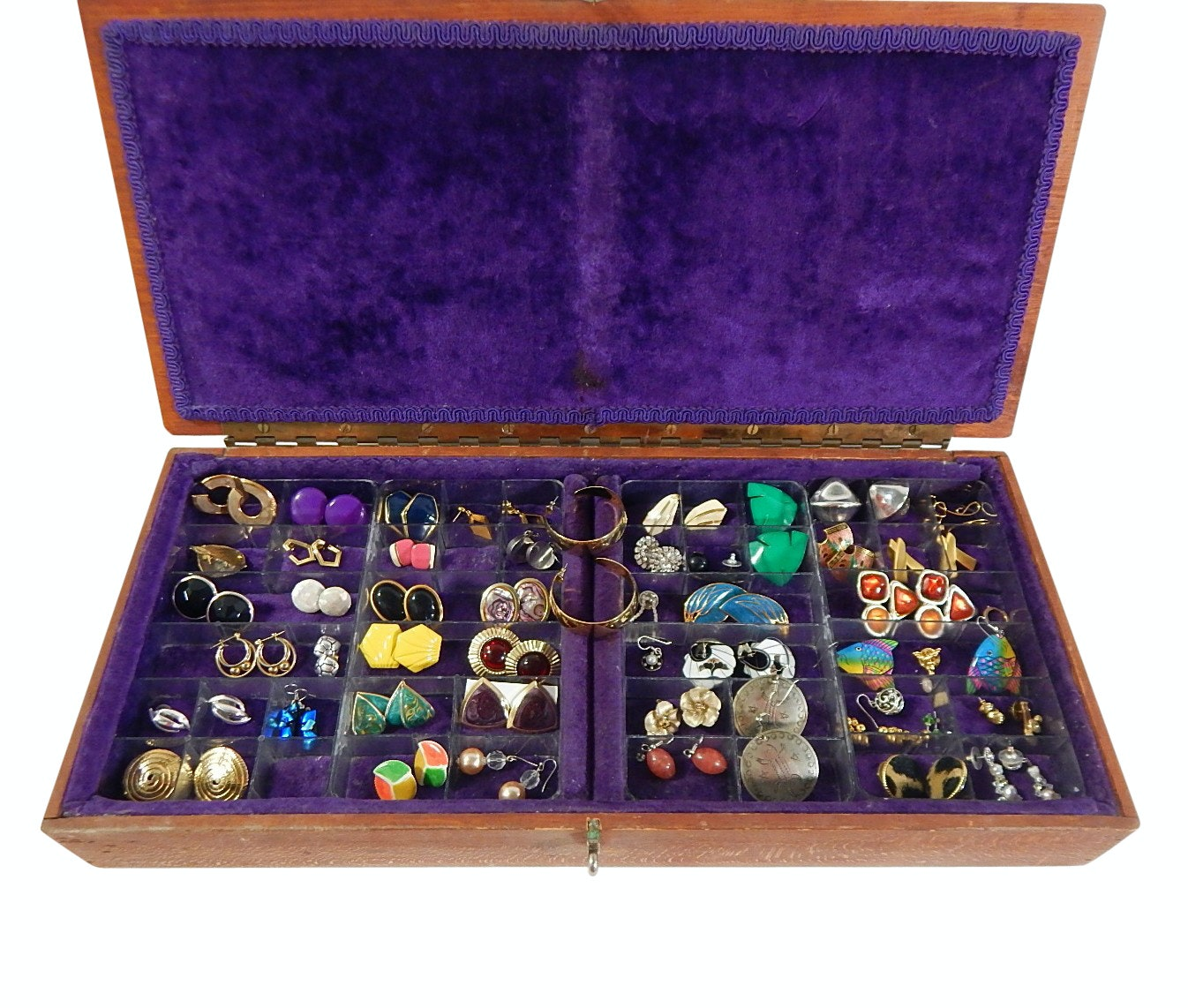 Over 35 Pairs of Costume Earrings with Some Sterling, in Large Lined Wood Box