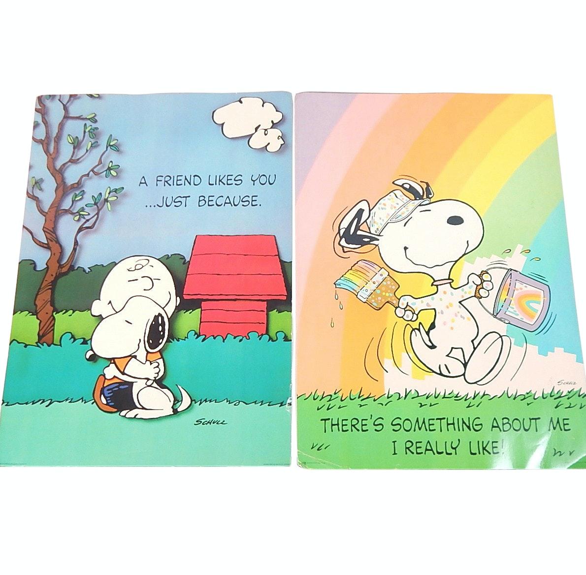 Vintage 1958 Hallmark Cardstock Charlie Brown and Snoopy Posters