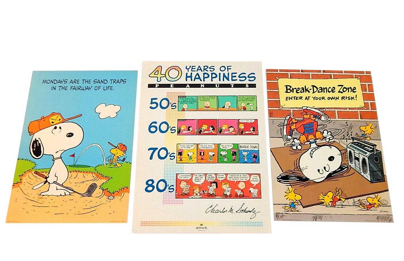 Three Vintage Charlie Brown/Snoopy Cardstock Posters