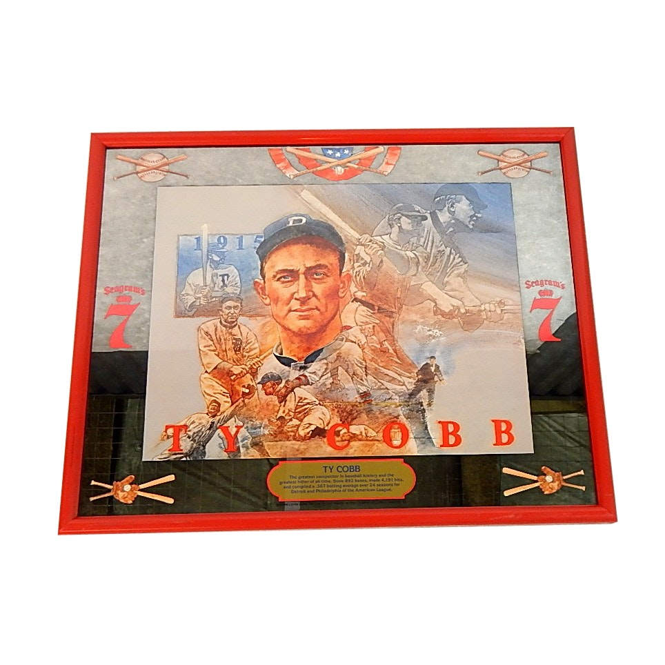 HOF Ty Cobb Seagram's 7 Advertising Mirror with Red Plastic Frame