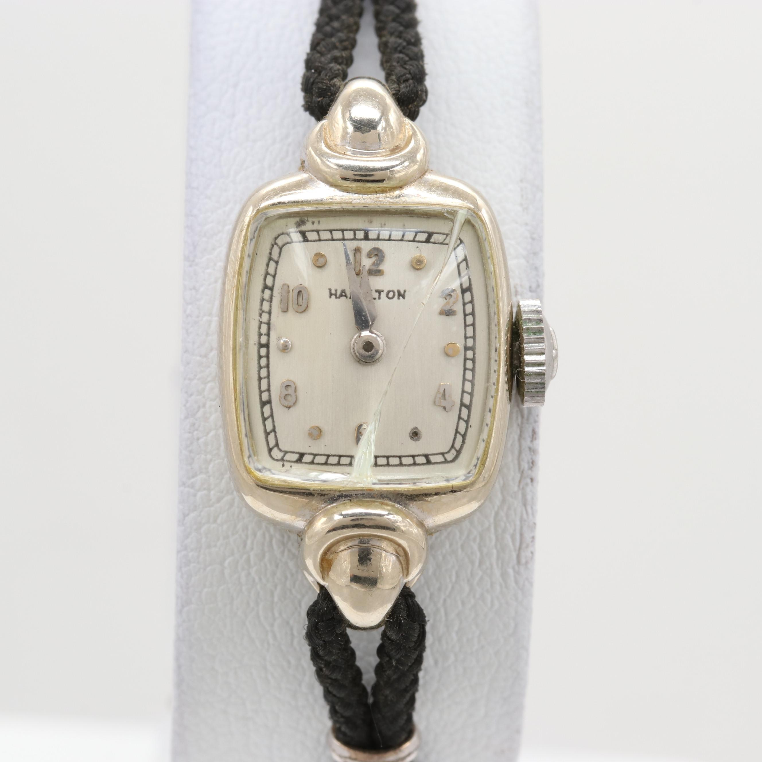 Vintage Hamilton Jessica 14K White Gold Stem Wind Wristwatch