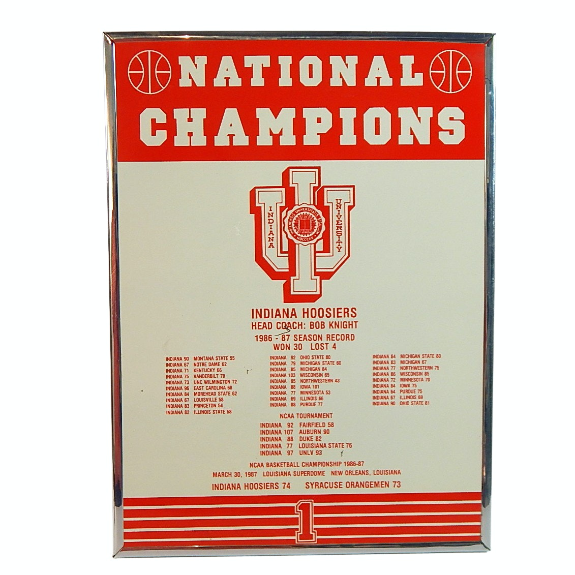 1986/1987 Indiana Hoosiers Porcelain Coated National Champions Framed Sign