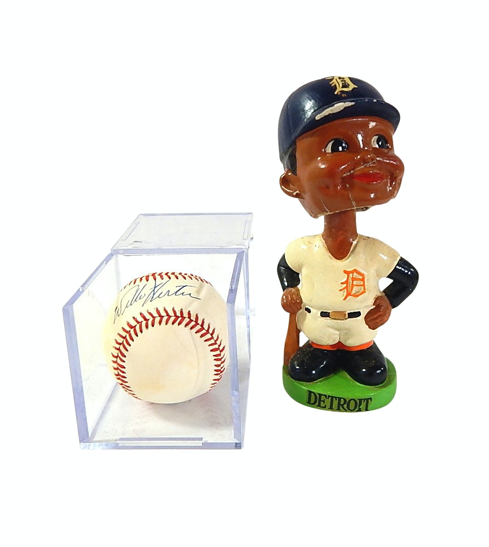 Willie Horton Signed Bobby Brown Baseball and Detroit Tigers 1962 Bobblehead