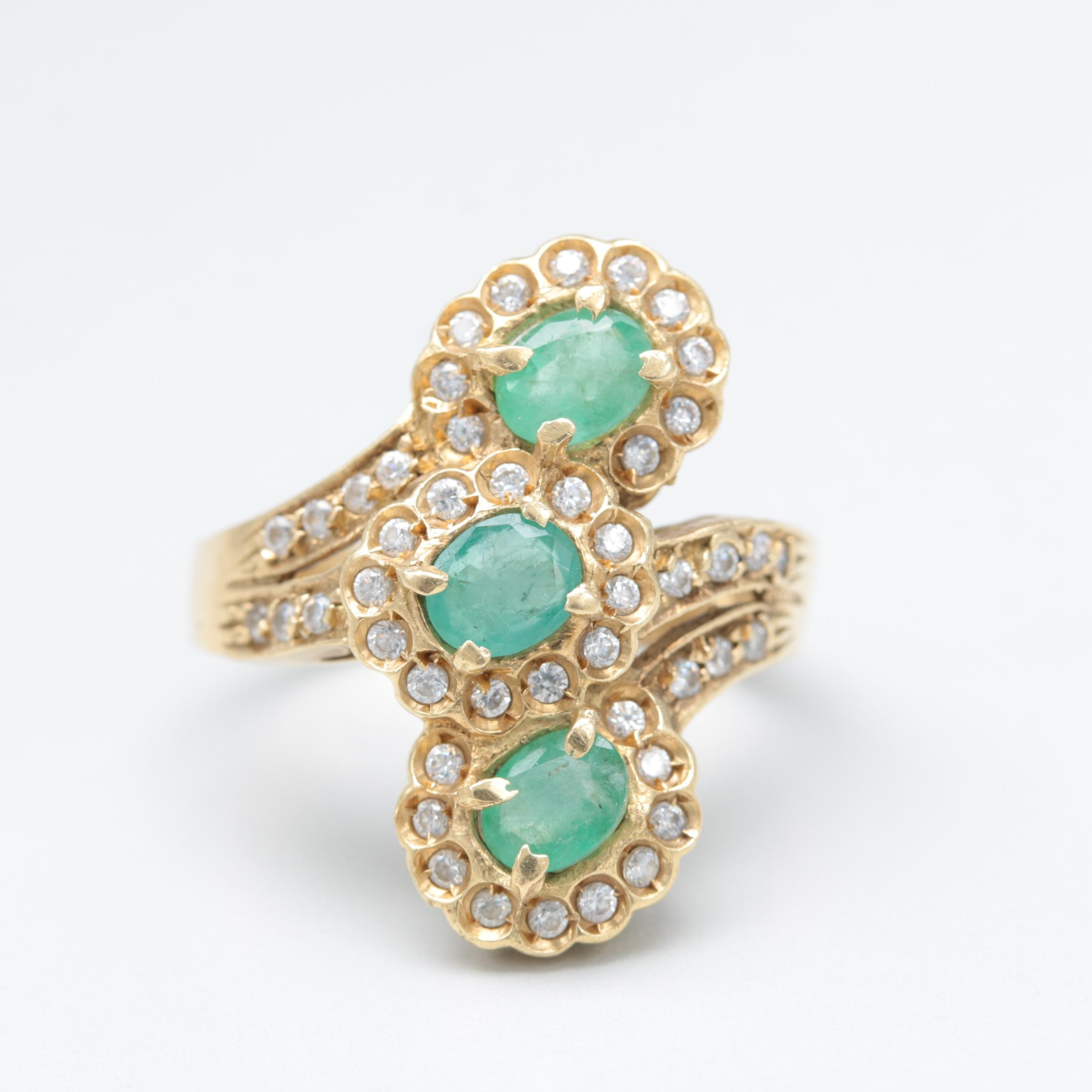 14K Yellow Gold Emerald and Cubic Zirconia Bypass Ring
