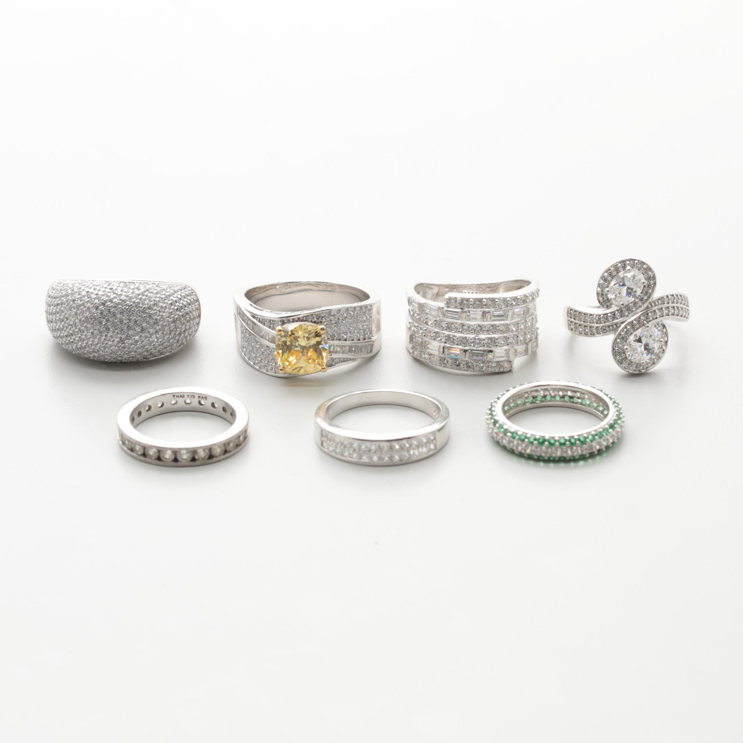Assortment of Sterling Silver Cubic Zirconia Rings