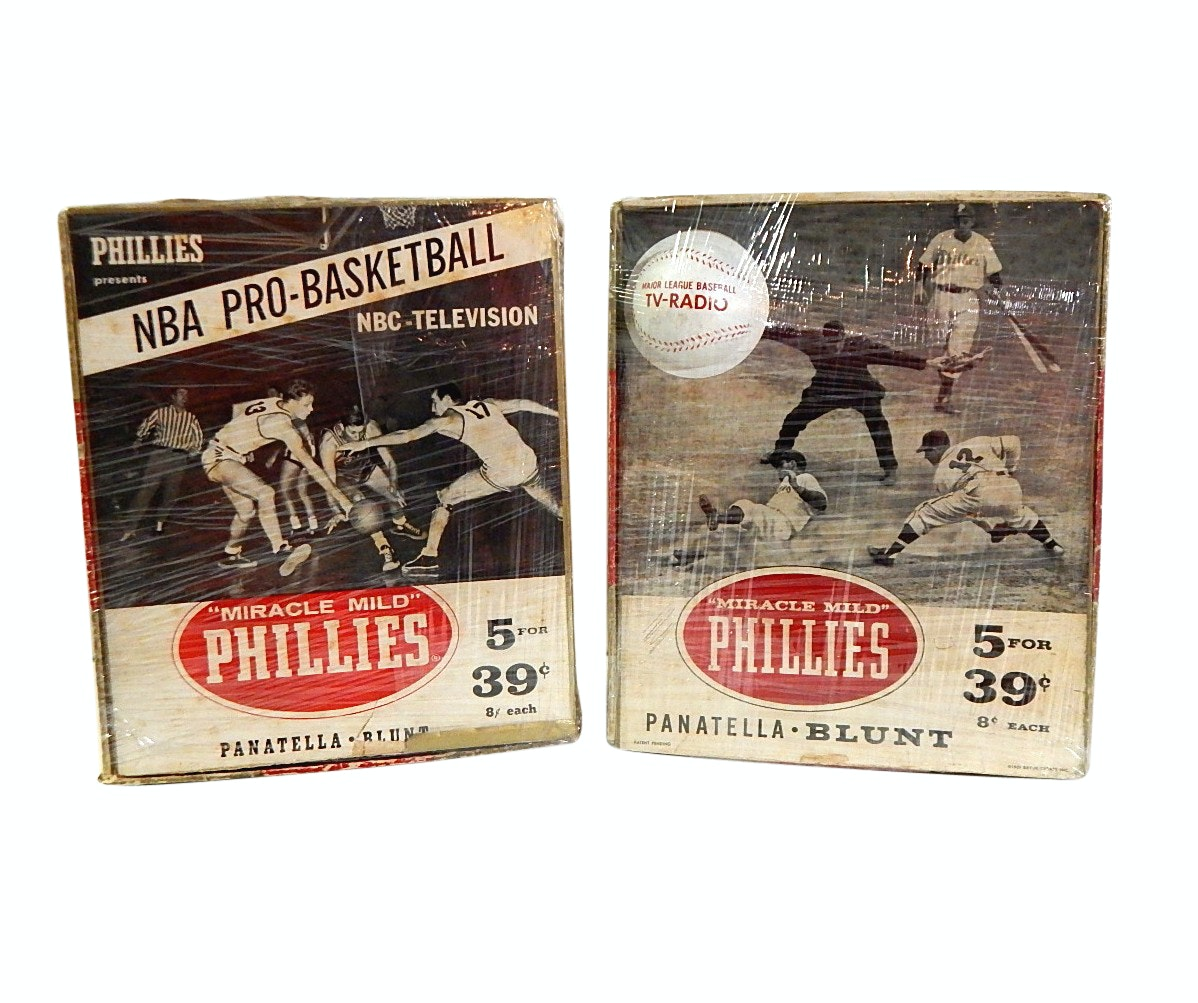 """Two 1959 Empty """"Miracle Mild"""" Phillies Cigar Boxes with Basketball and Baseball"""