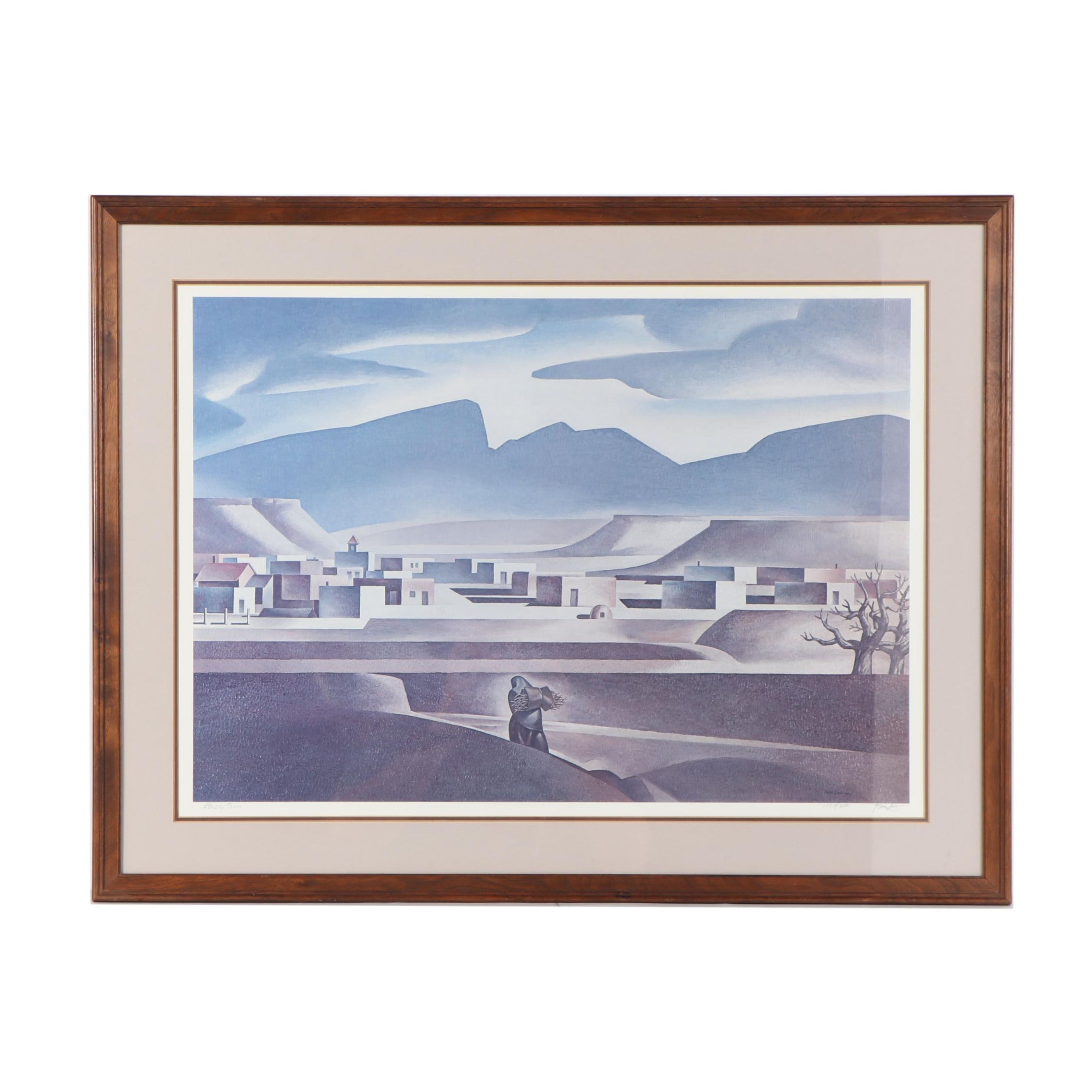 """Thomas C. Lea III Offset Lithograph """"Lonely Town"""""""