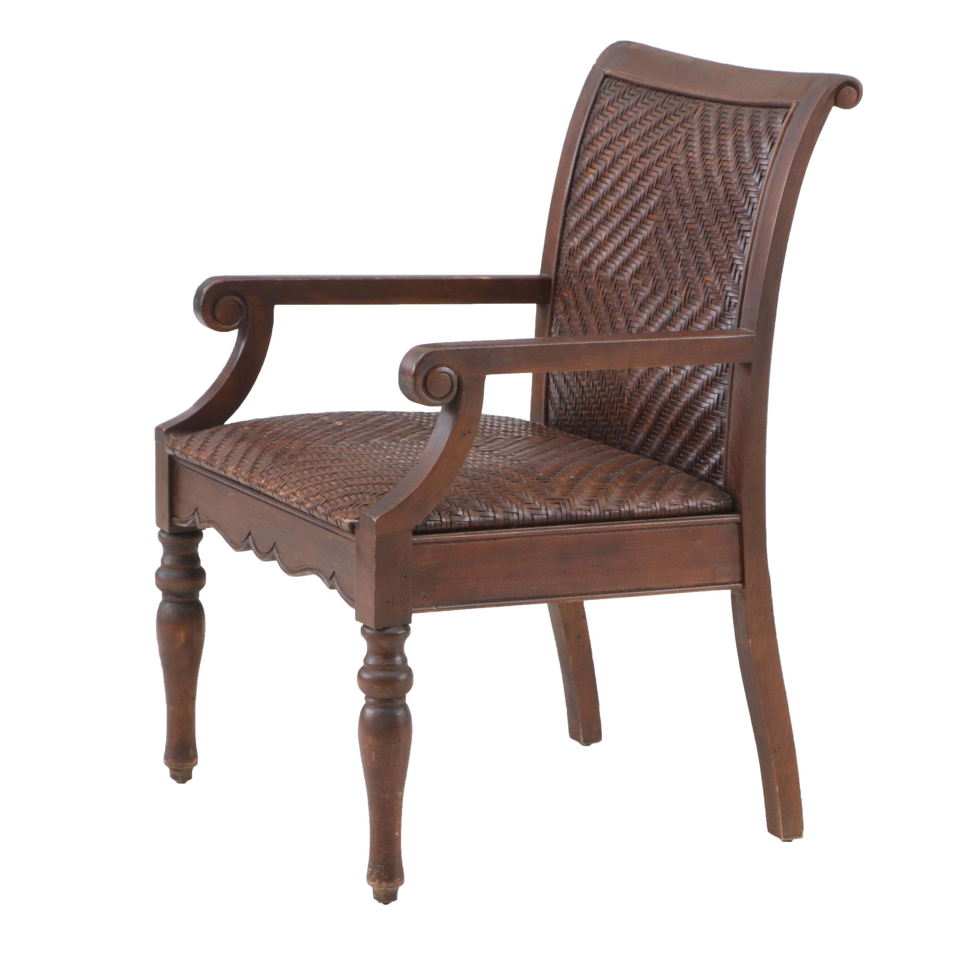Contemporary Cane and Wood Armchair