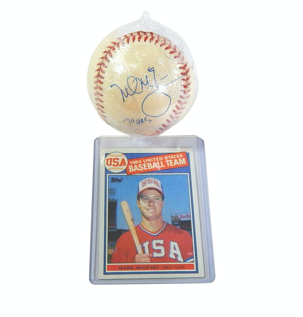 "Mark McGwire Signed ""70 HRs"" Baseball and 1985 Topps USA #401 Rookie Card"