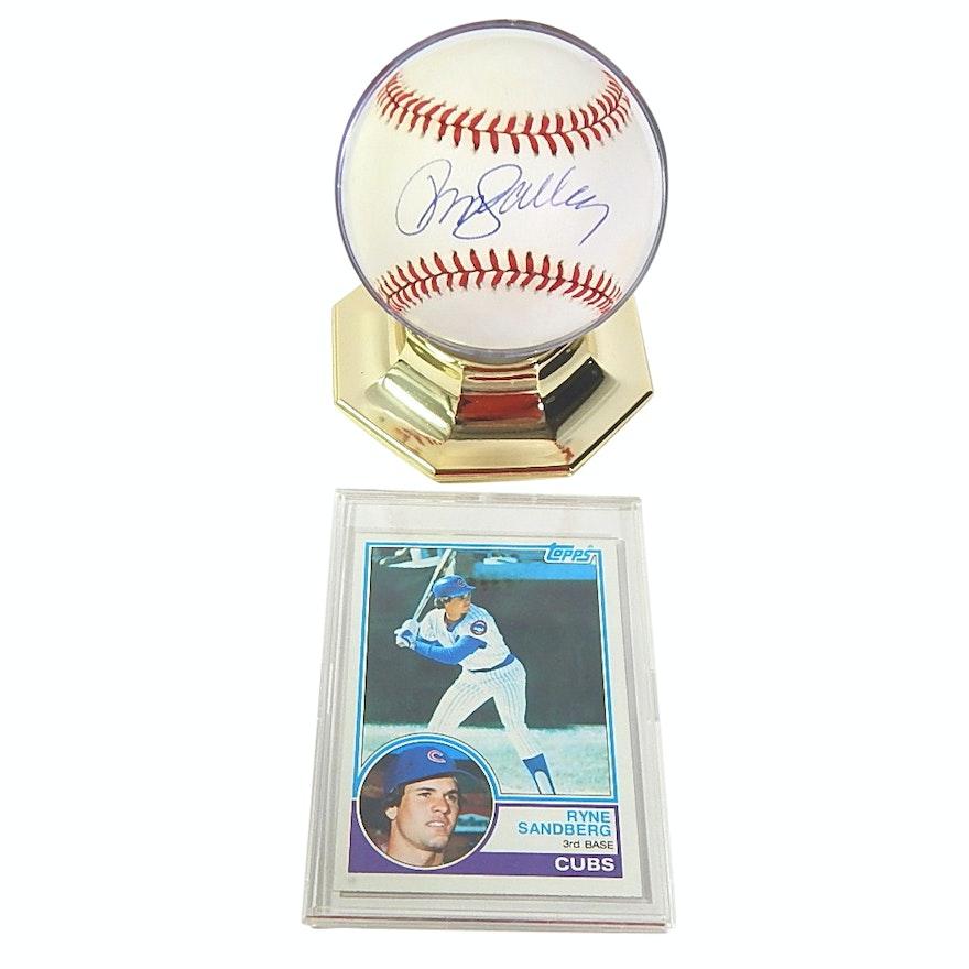 Hof Ryne Sandberg Signed Baseball And Topps Rookie Card 83