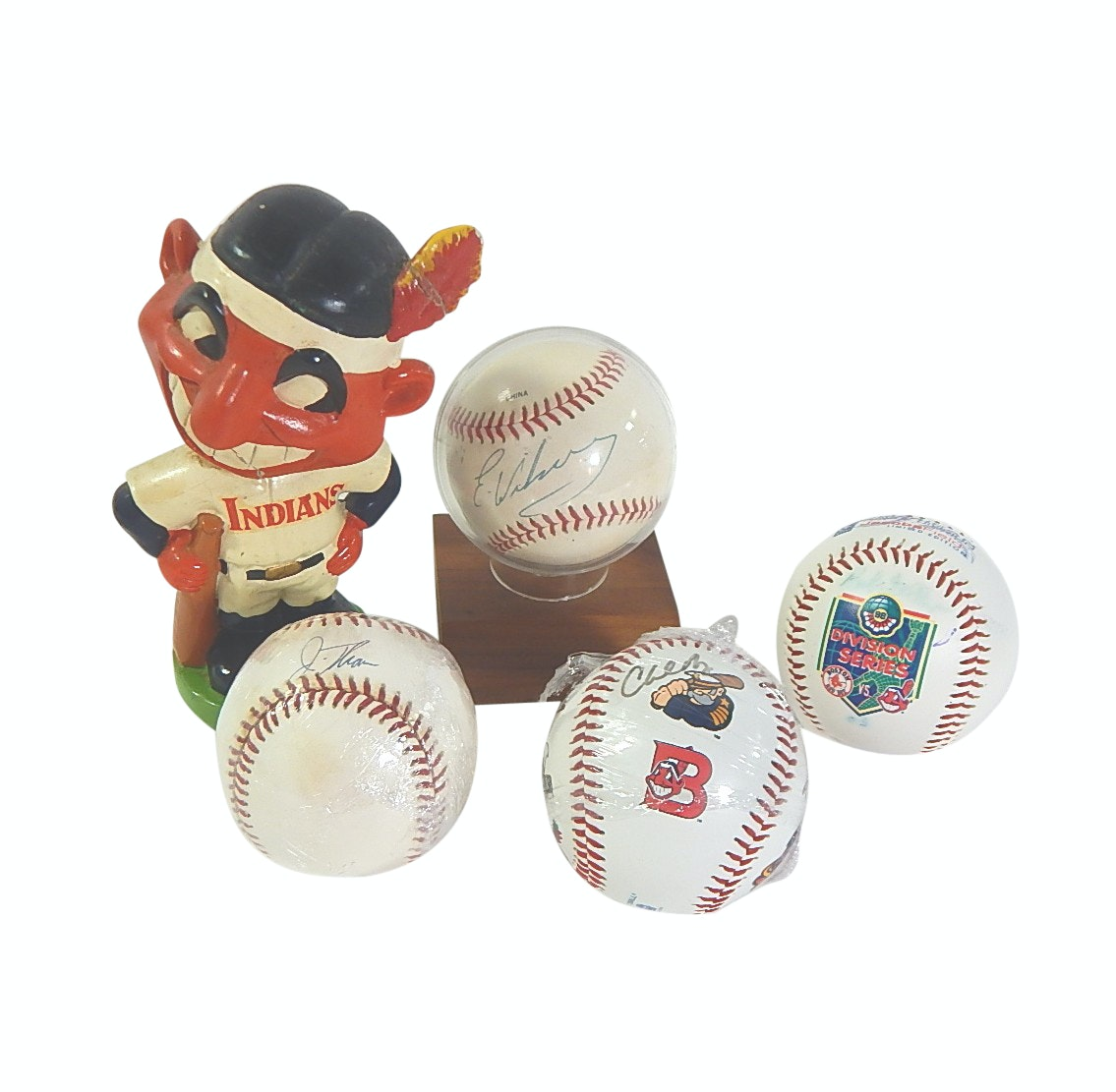 1960s Cleveland Indians Bobblehead and Signed Baseballs with Feller and Thome
