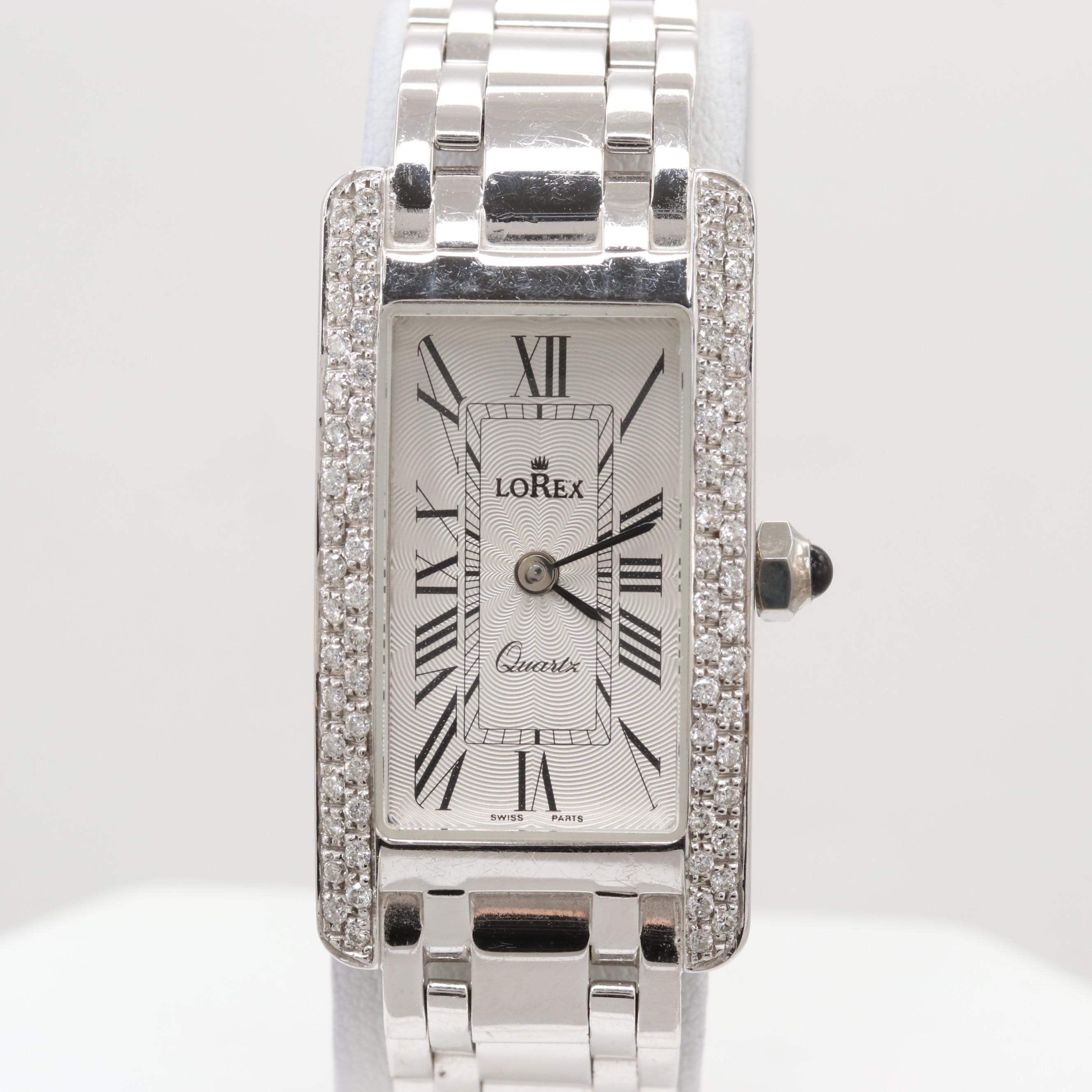 Lorex 14K White Gold Quartz Wristwatch With Diamond