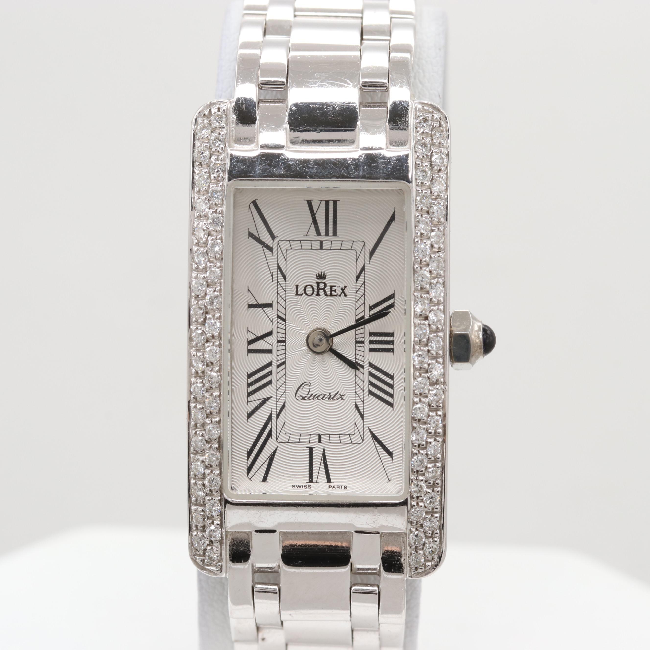 Lorex 14K White Gold Quartz Wristwatch With Diamond
