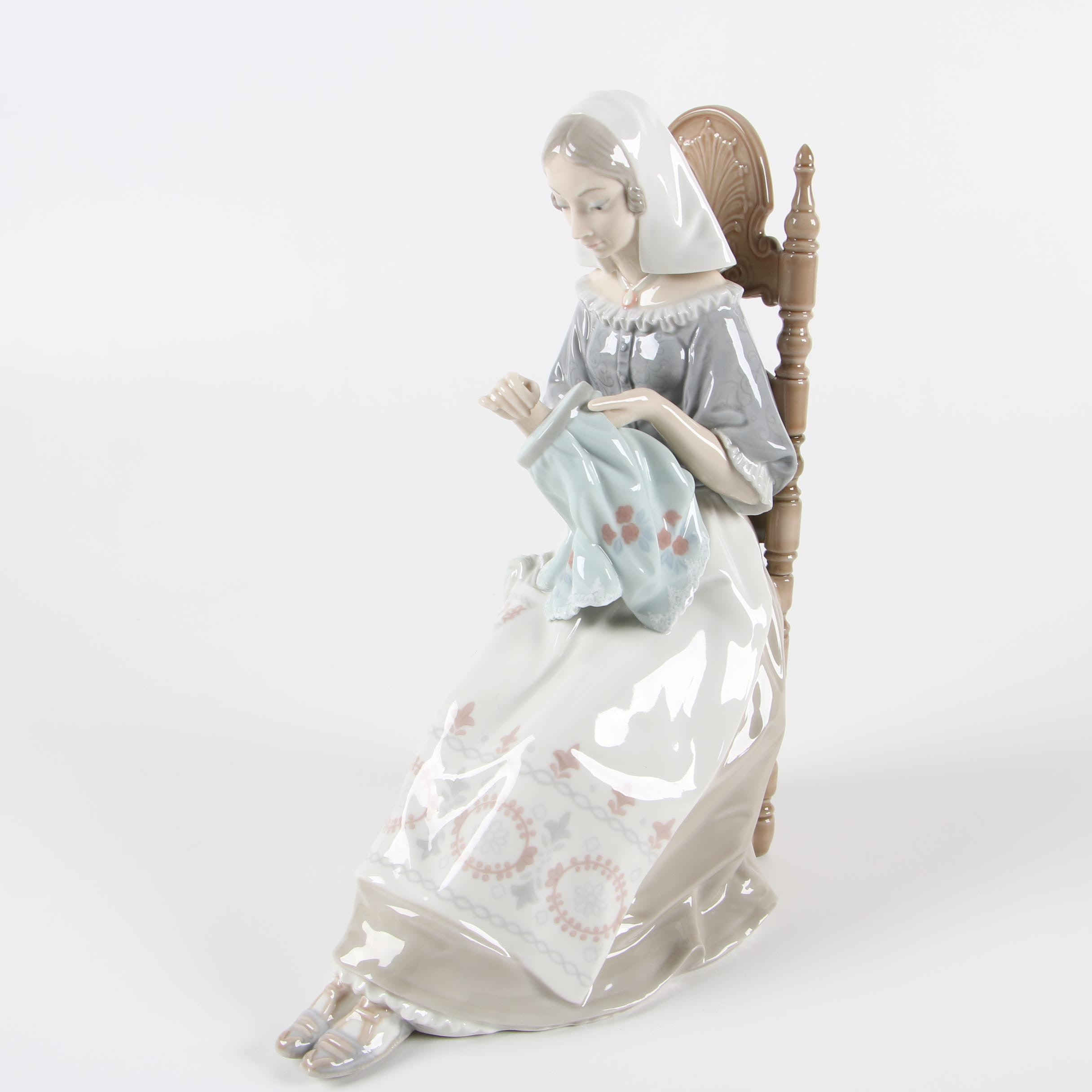 "Lladró ""Insular Embroideress"" Porcelain Figurine"