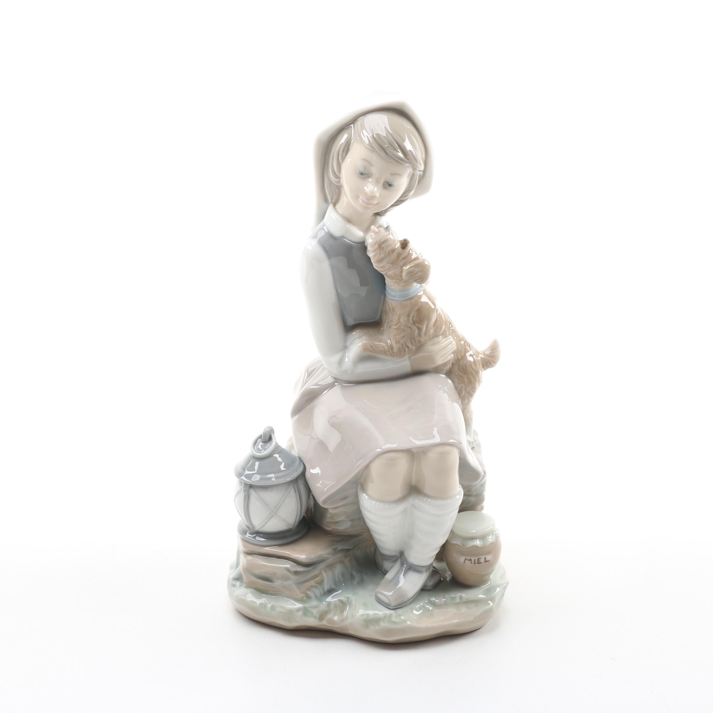 "Lladró ""Girl with Lantern"" Porcelain Figurine"