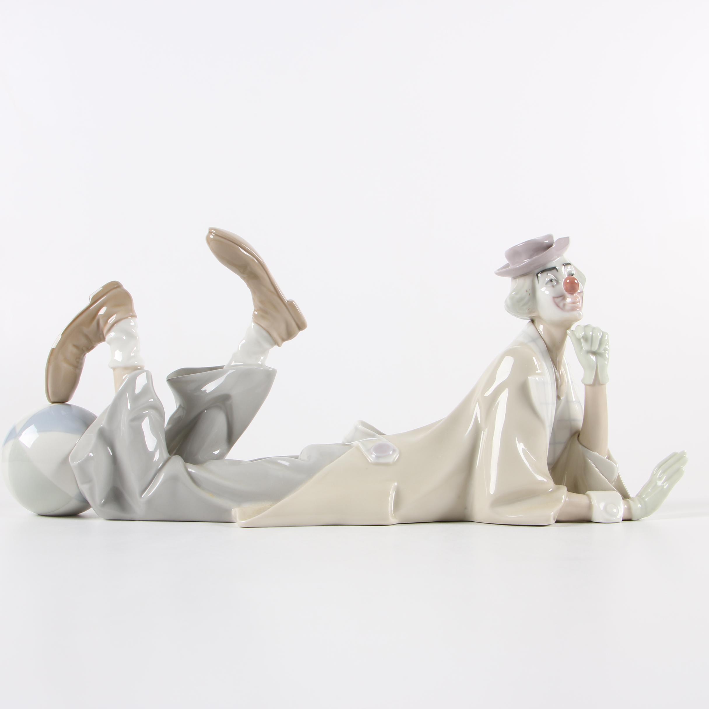 "Lladró ""Reclining Clown"" Porcelain Figurine"