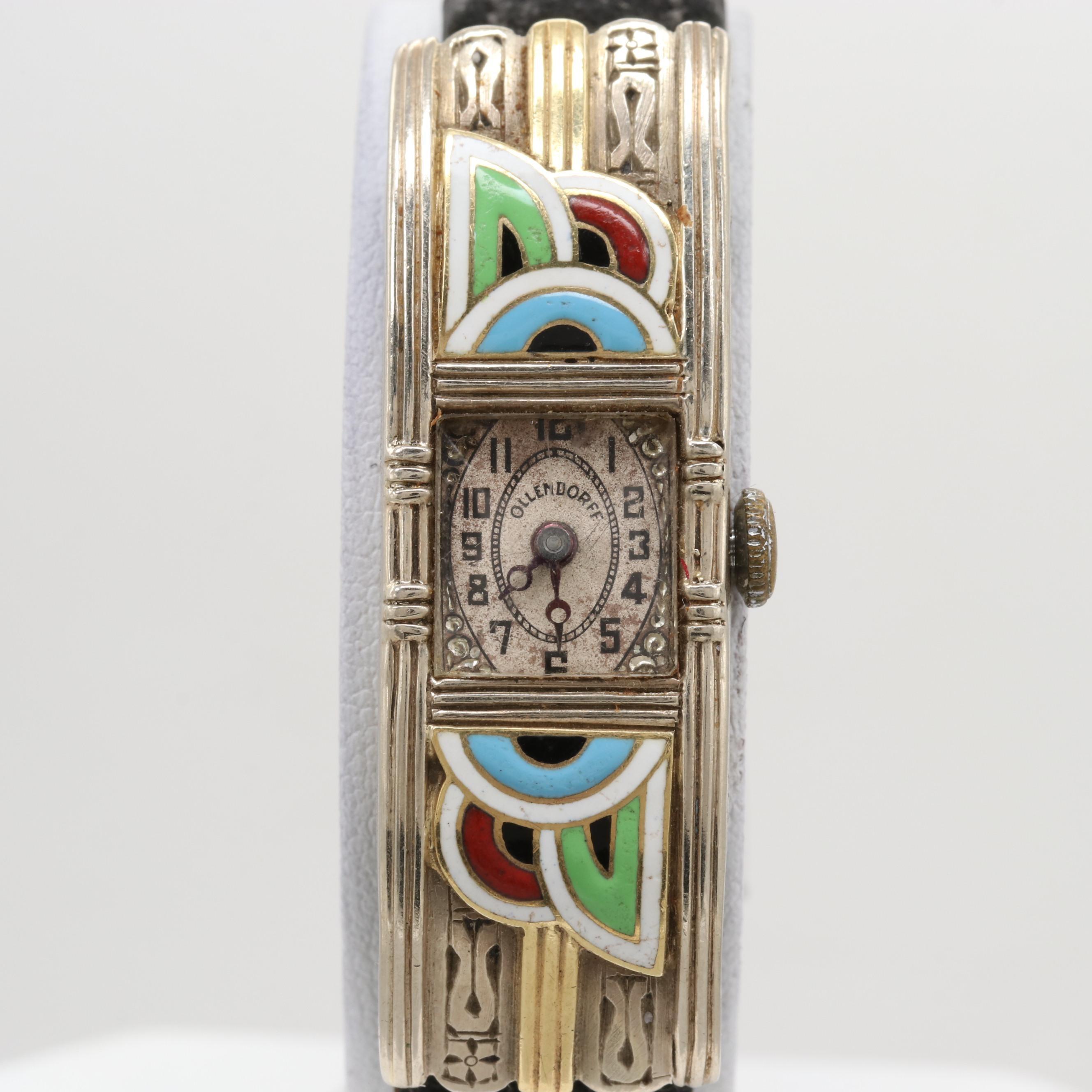 Art Deco Ollendorff 14K White and Yellow Gold Enamel Stem Wind Wristwatch