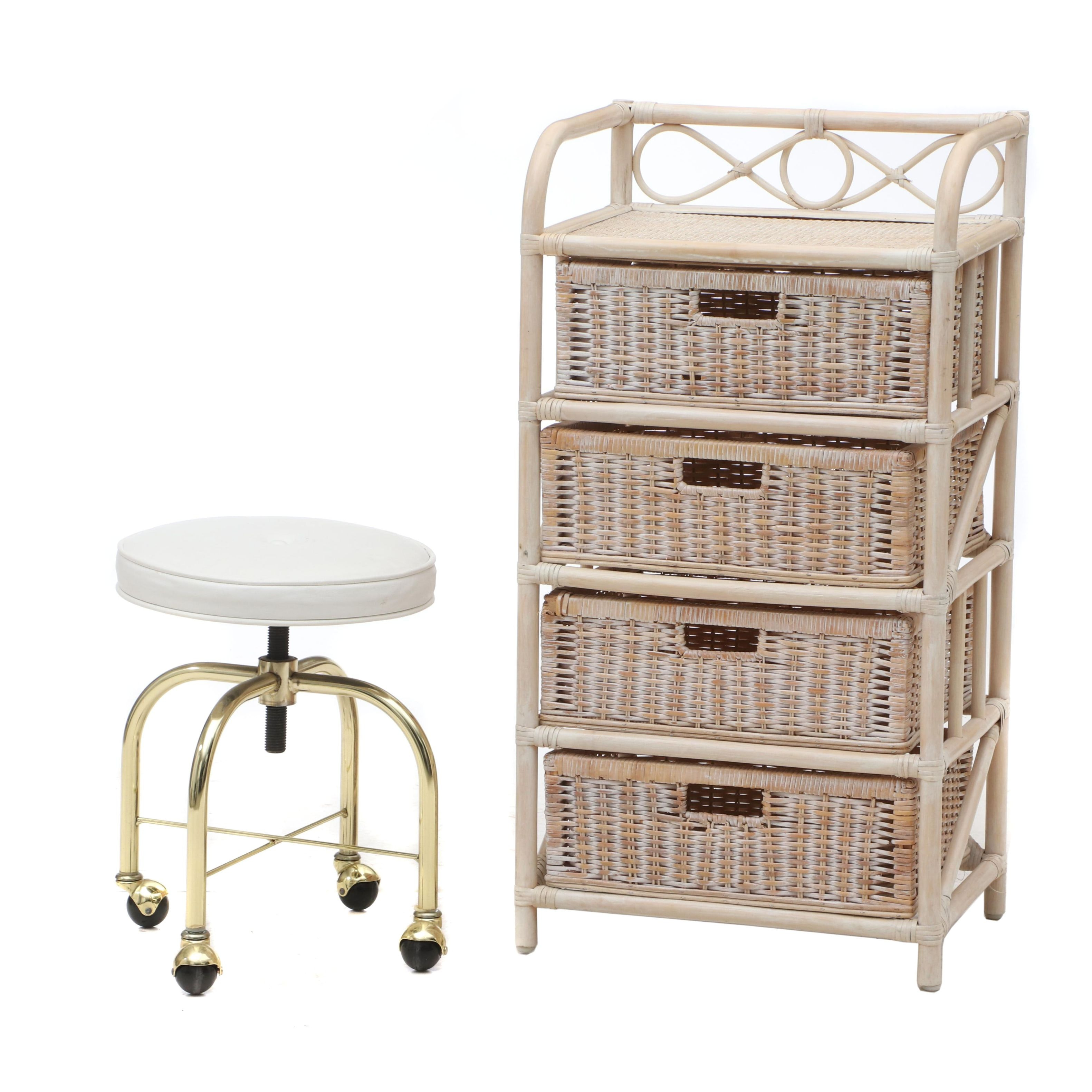 Contemporary Rattan and Bamboo Storage Chest and Vanity Stool