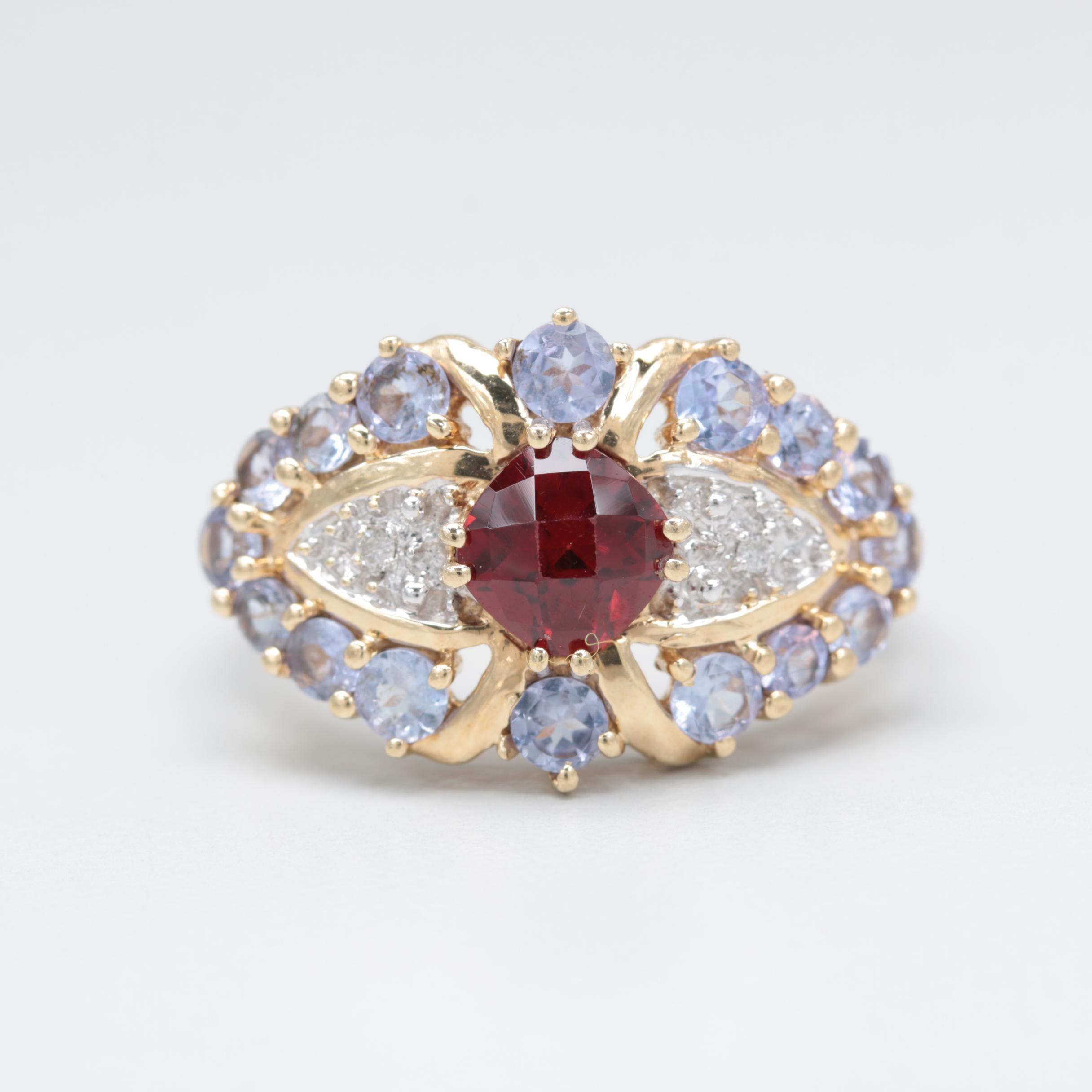10K Yellow Gold Garnet, Diamond and Tanzanite Ring