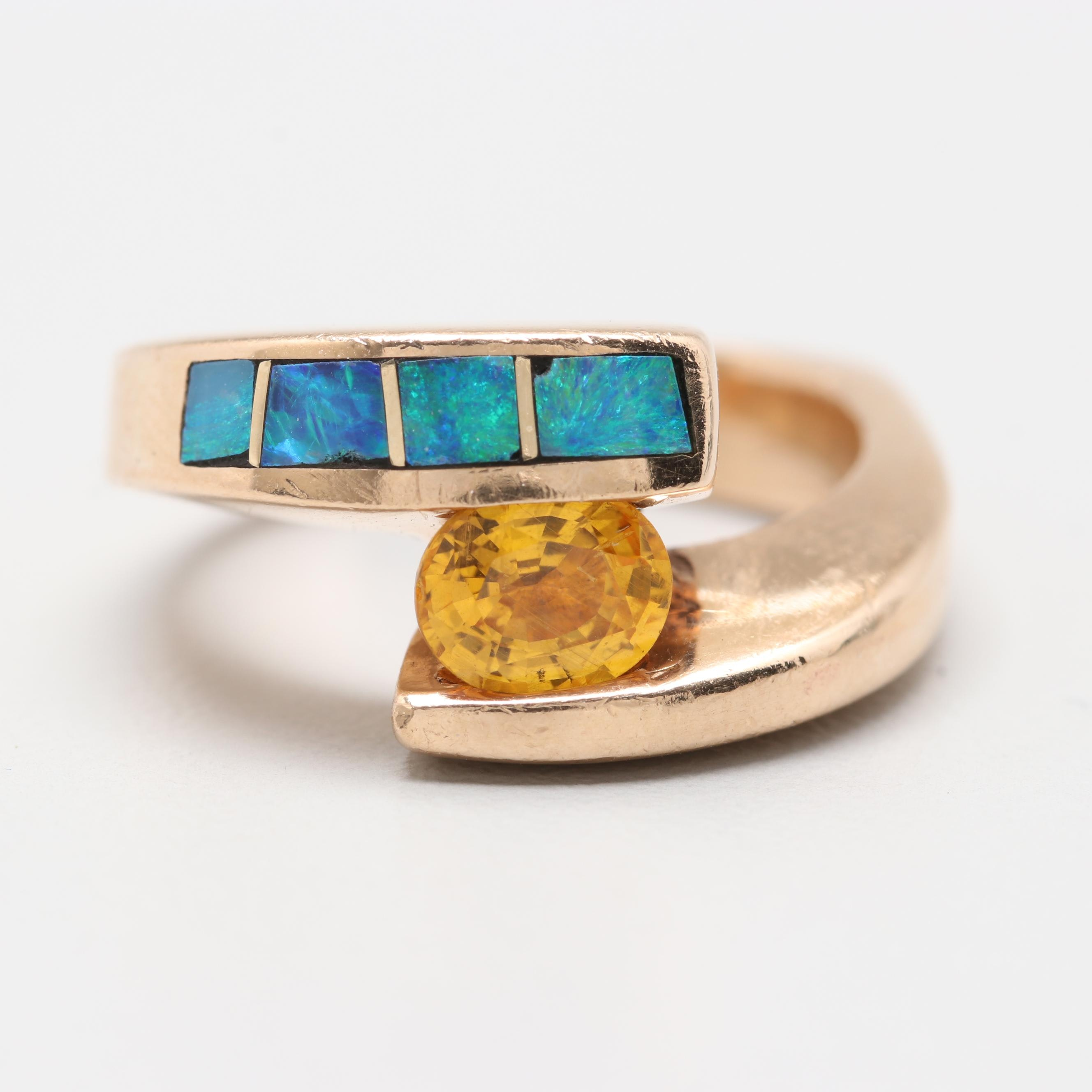 14K Yellow Gold Unheated Yellow Sapphire and Opal Ring