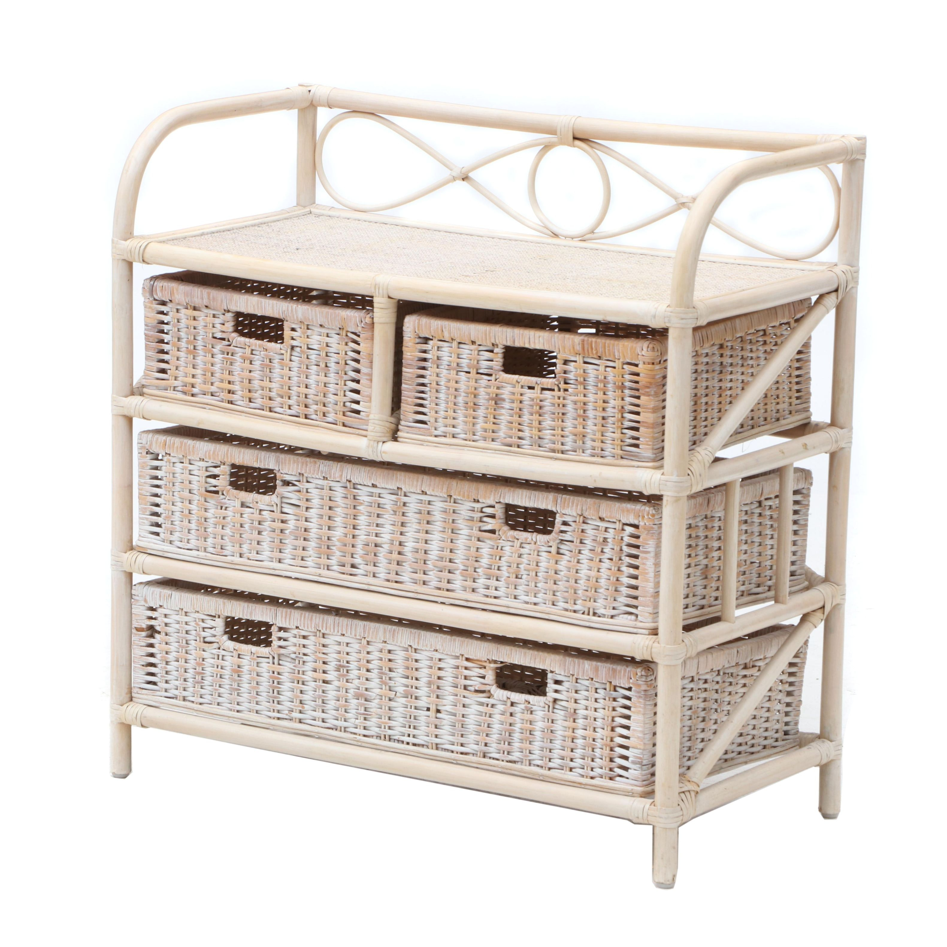 Contemporary Rattan and Bamboo Storage Chest