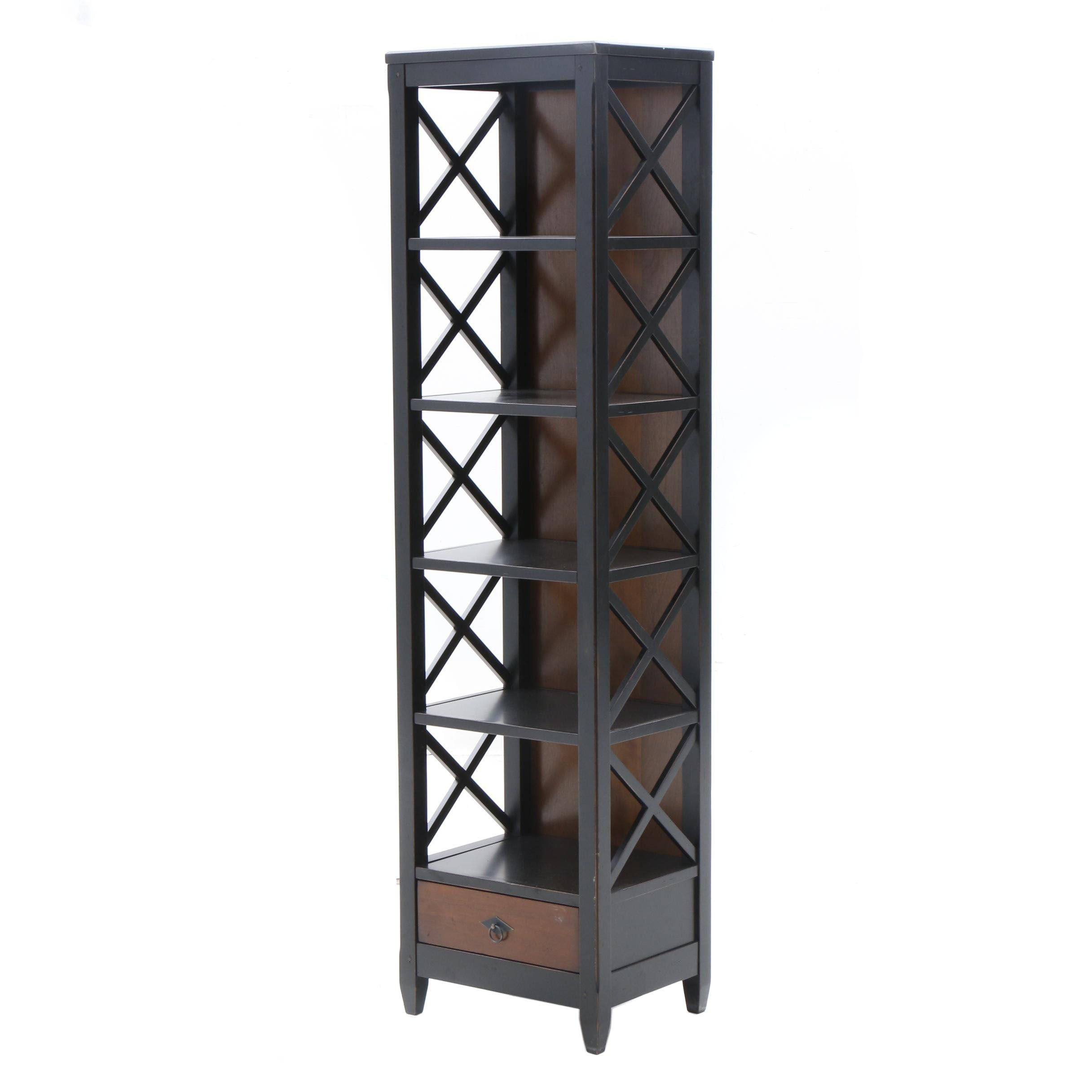 Contemporary Painted Wood Black Lattice Bookcase by Arhaus