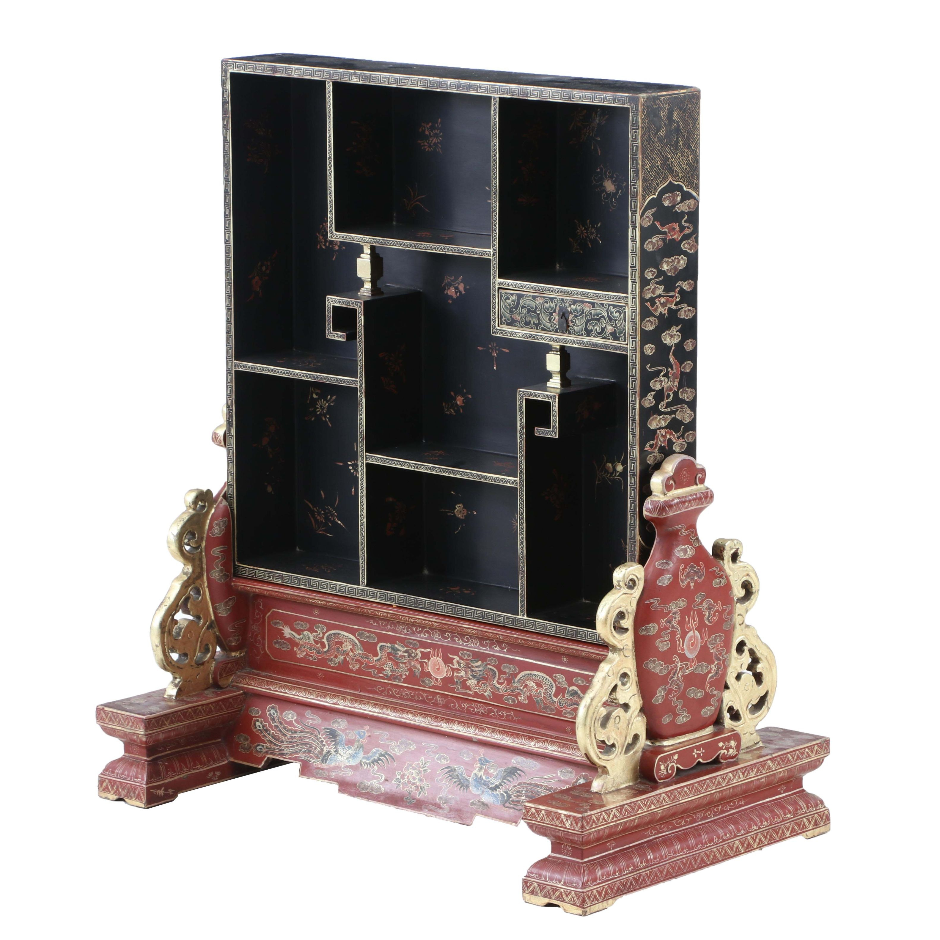 Chinese Lacquered Curio Cabinet
