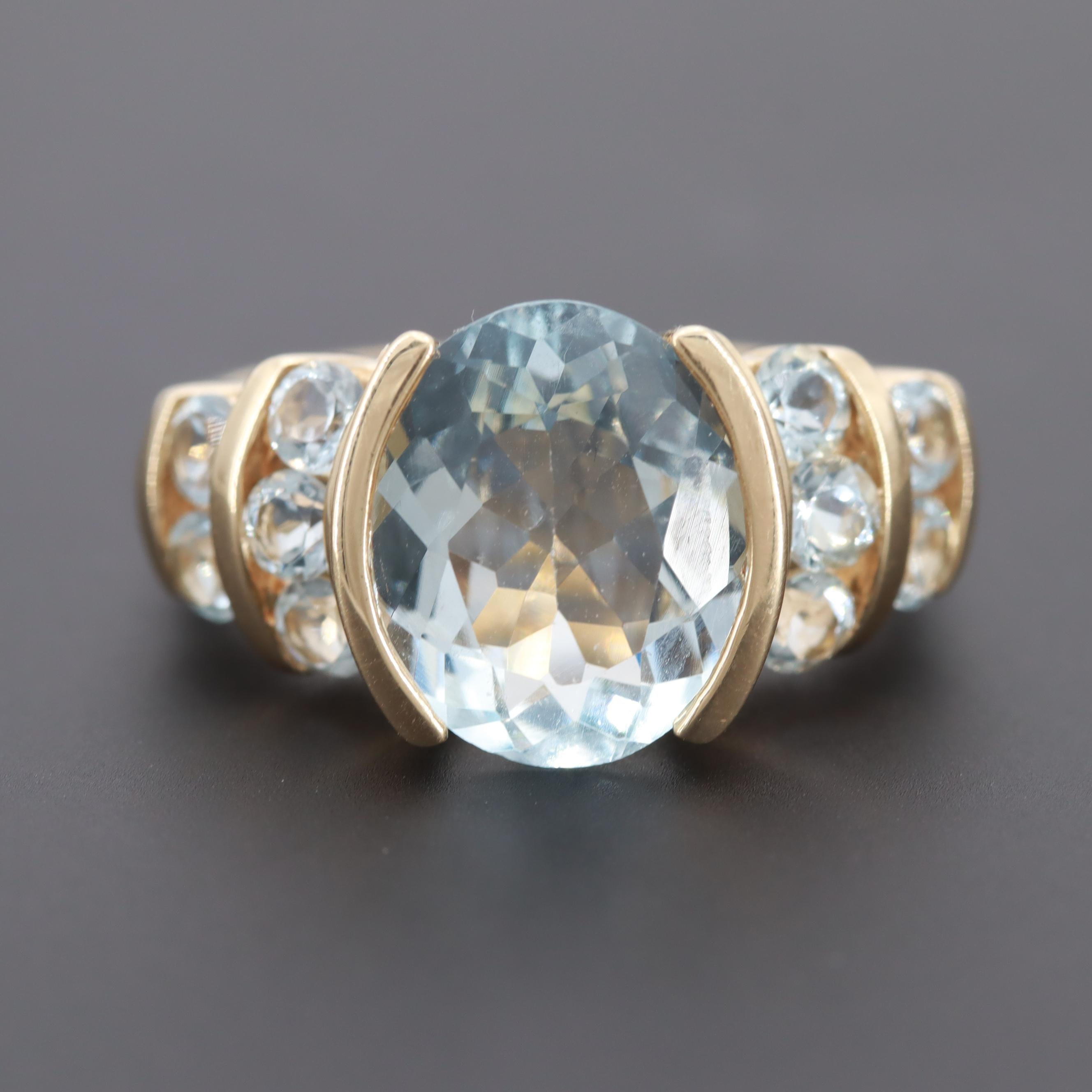 10K Yellow Gold Aquamarine Ring with 3.34 CT Center Stone