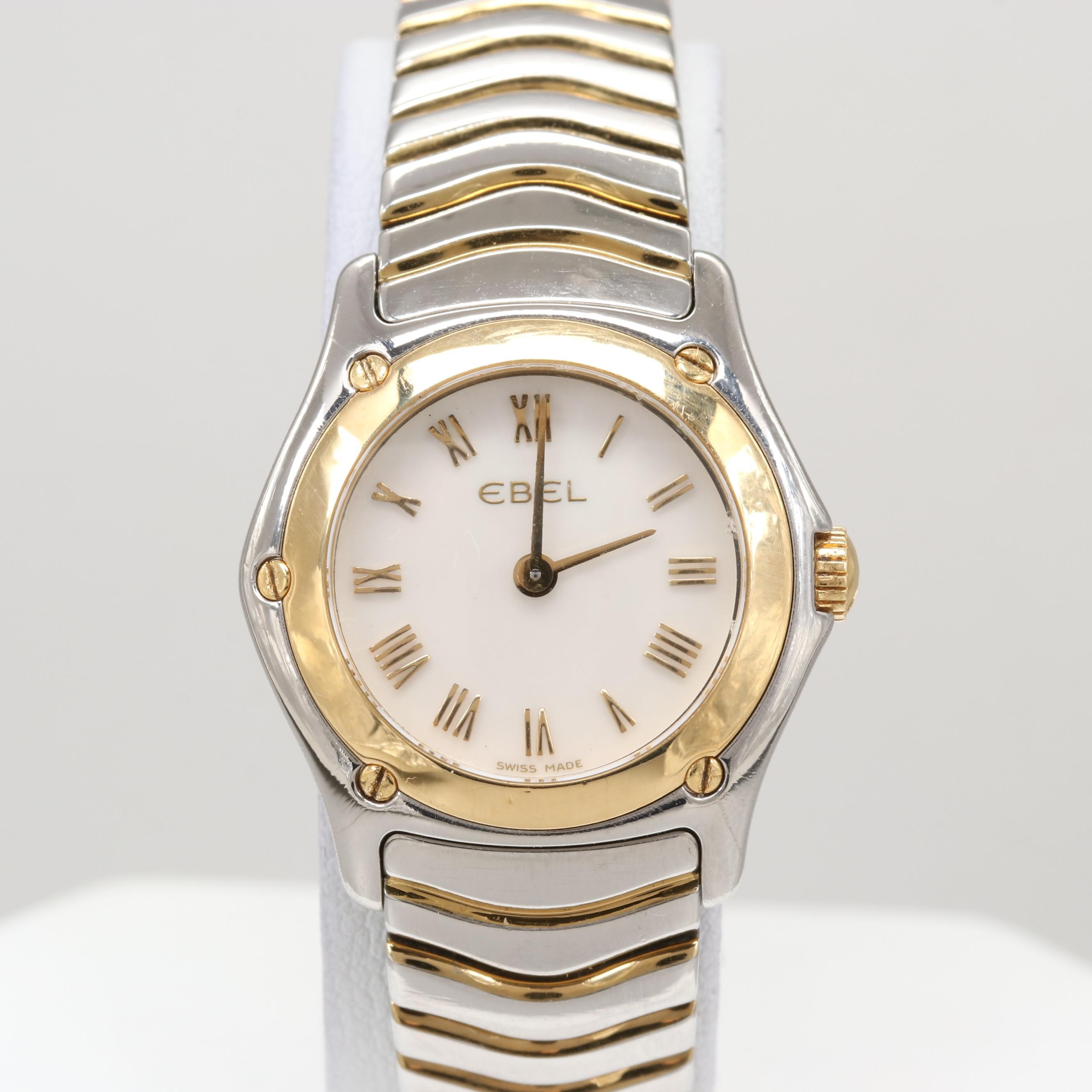 Ebel Classic Wave 18K Yellow Gold and Stainless Steel Wristwatch
