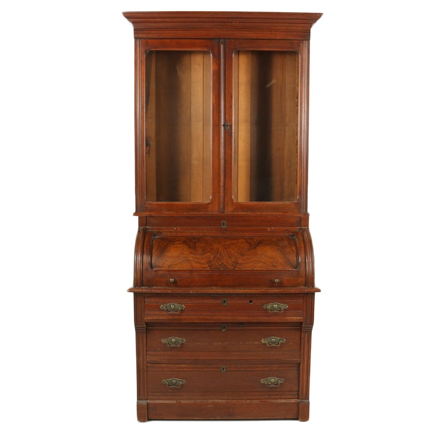 Eastlake Walnut Bookcase over Cylinder Desk, Early 20th Century