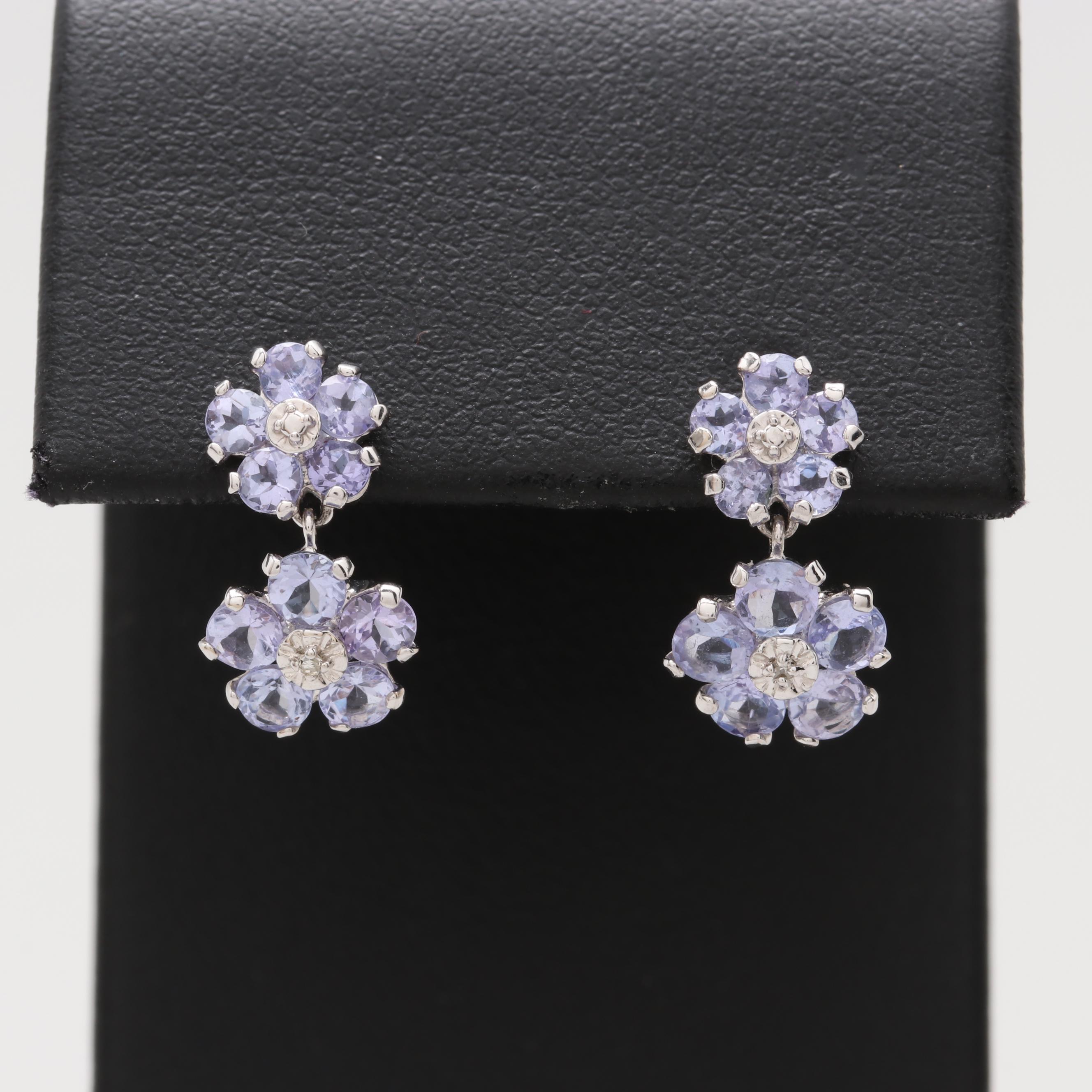 14K White Gold Tanzanite and Diamond Dangle Earrings