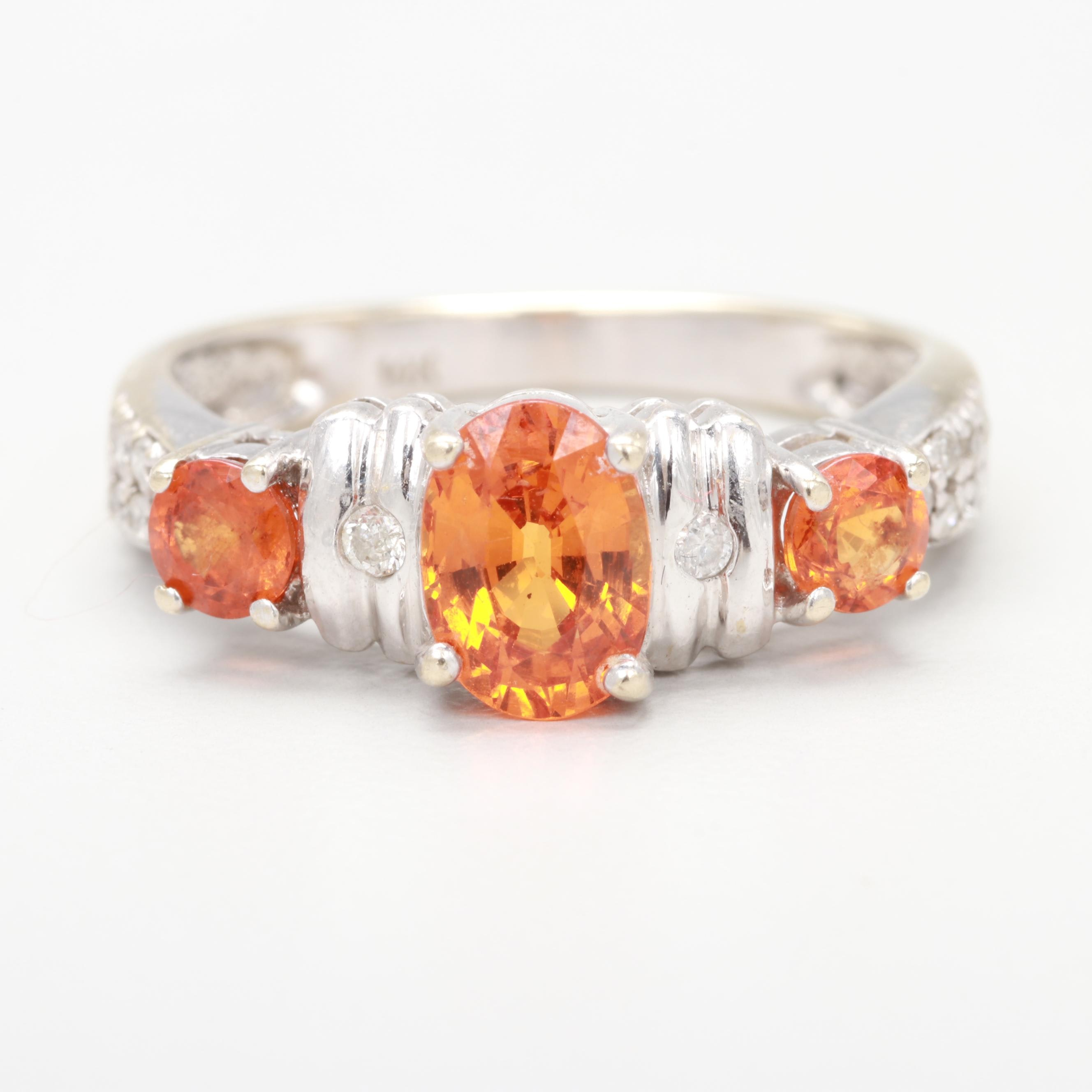 14K White Gold Spessartine Garnet and Diamond Ring