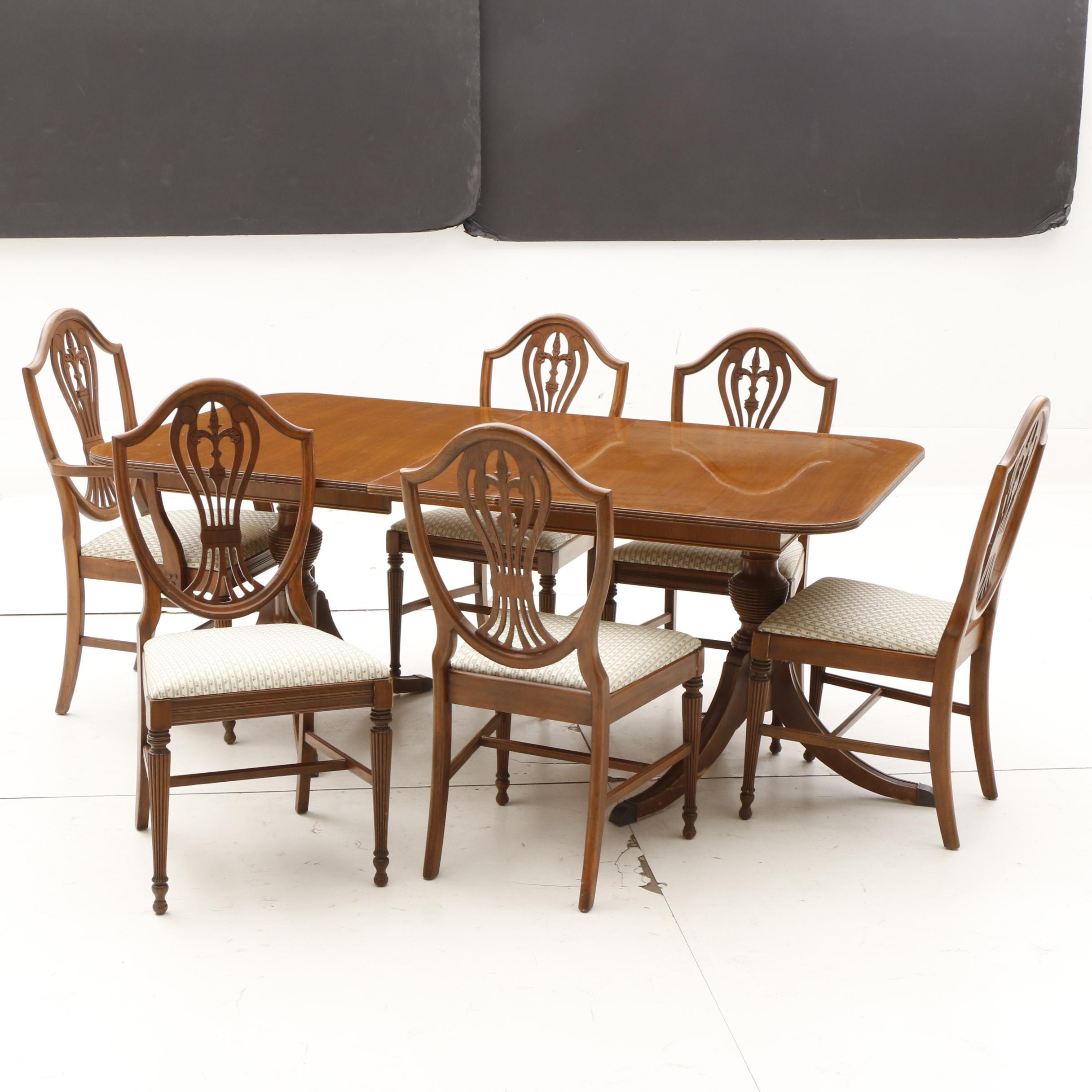Hepplewhite Style Dining Table and Chairs in Mahogany