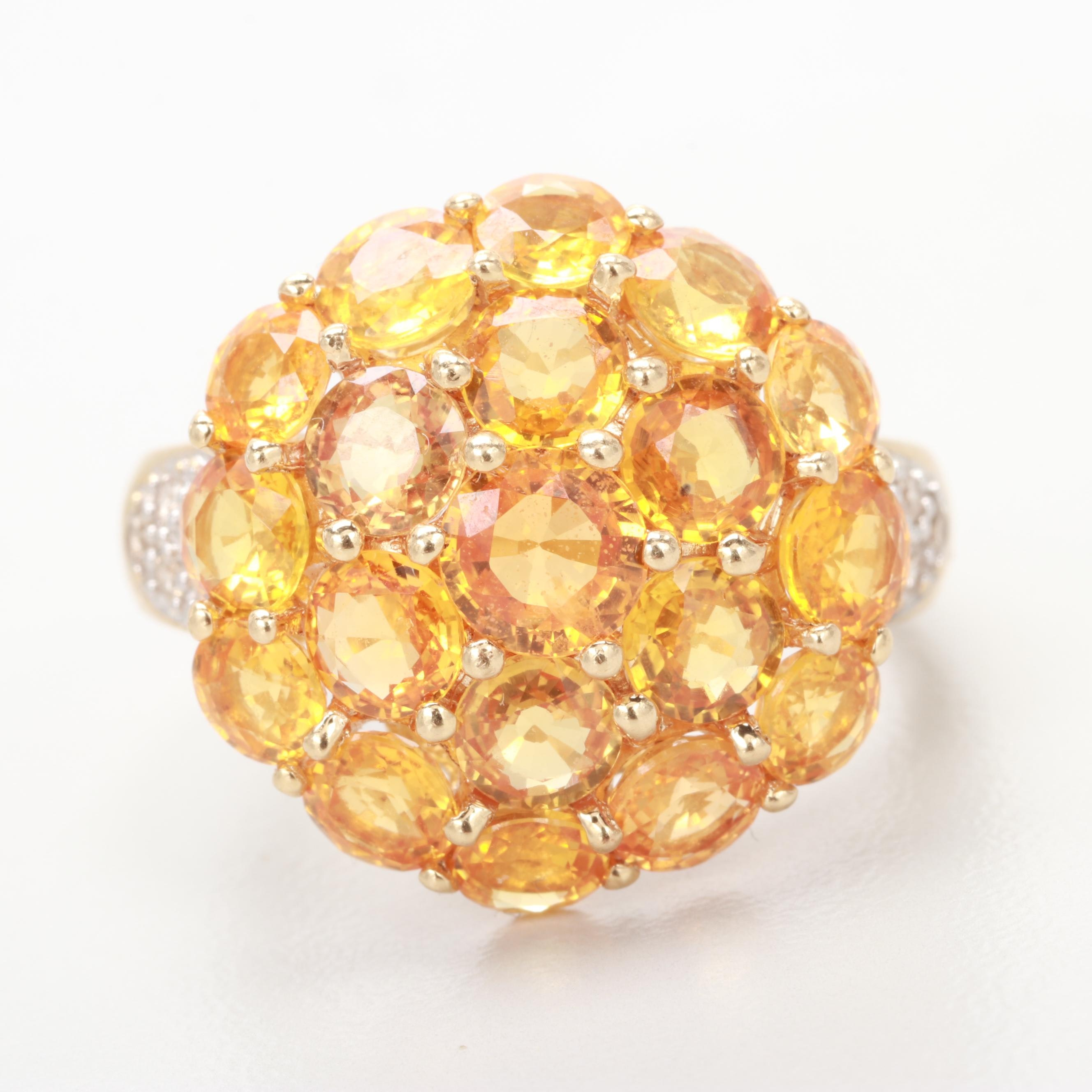 14K Yellow Gold Orange Sapphire and Diamond Ring