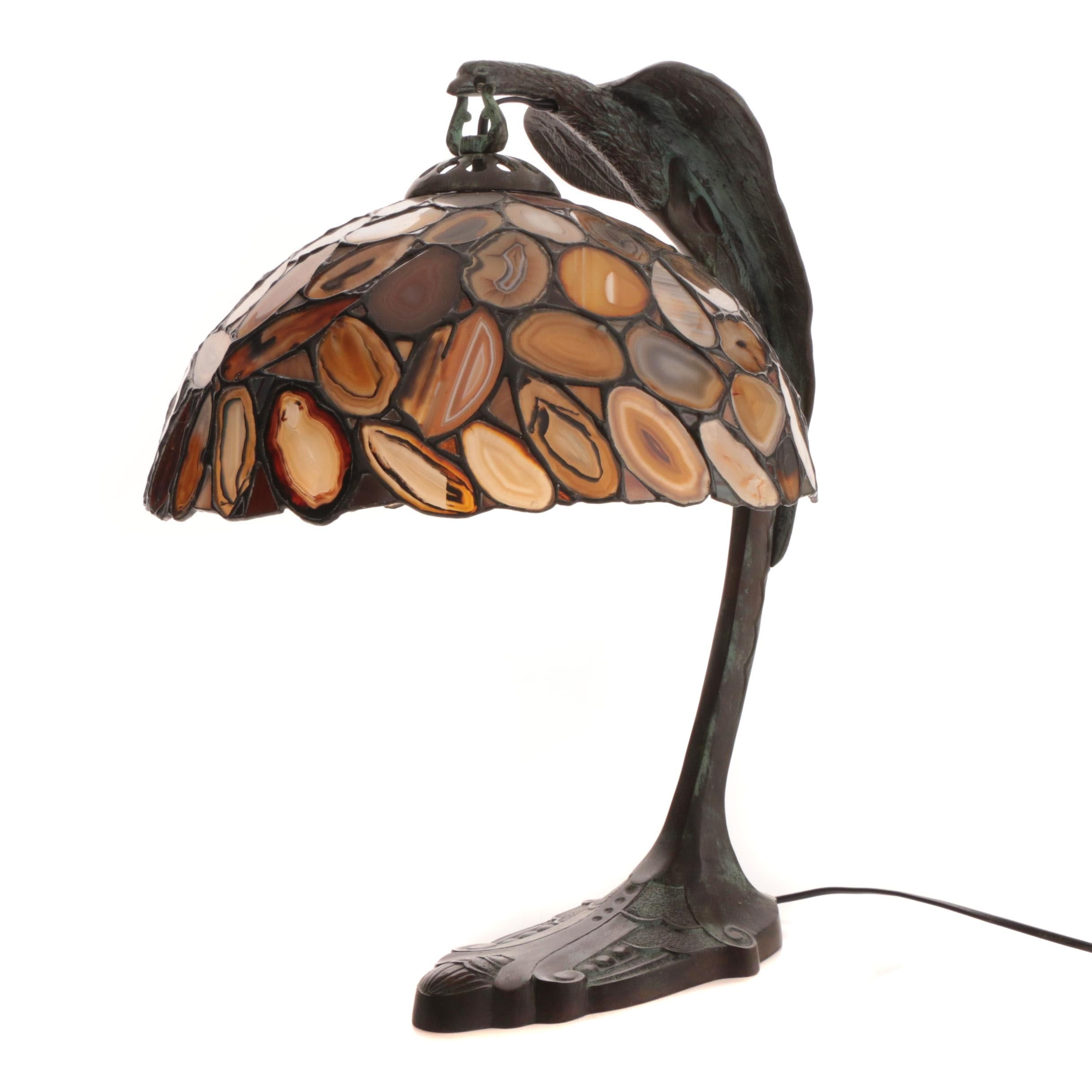 Bronze Patinated Curved Metal Bird Form Table Lamp with Sliced Agate Shade