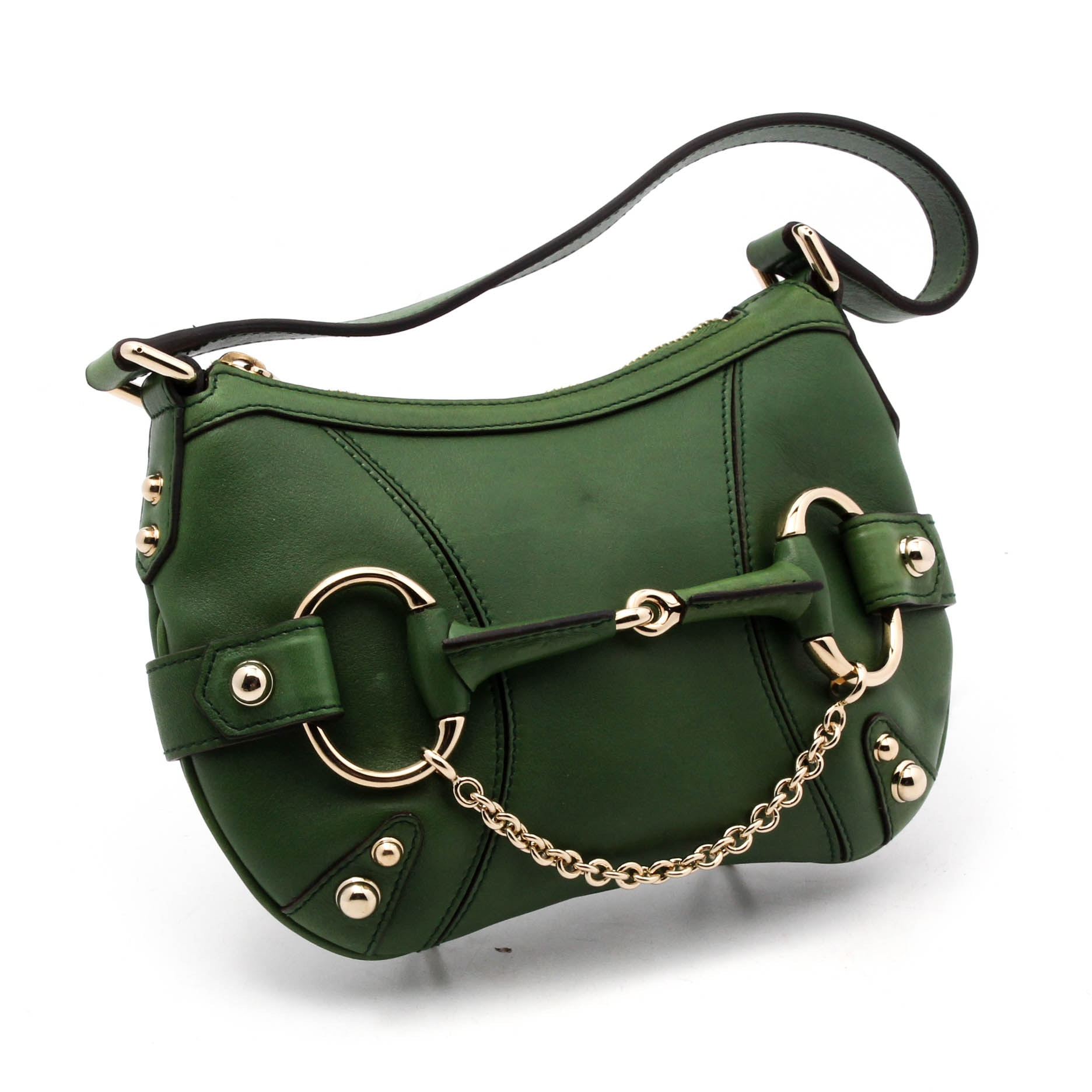 Gucci Green Leather Horse Bit Baguette